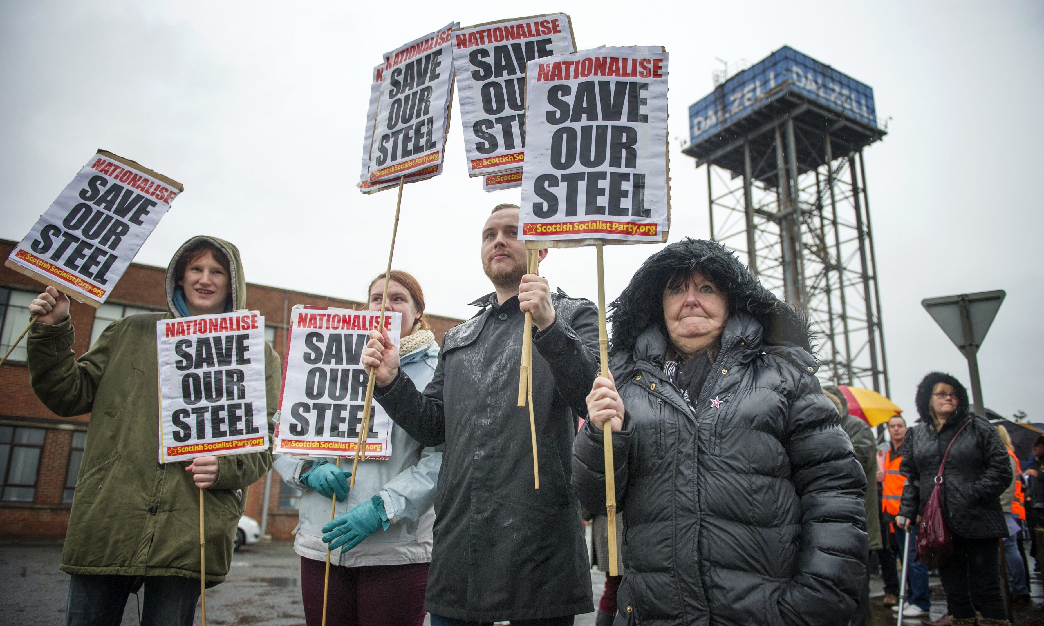 Hundreds of steel workers marching through Motherwell last year in a bid to save their jobs and prevent the closure of the steel industry in Scotland.