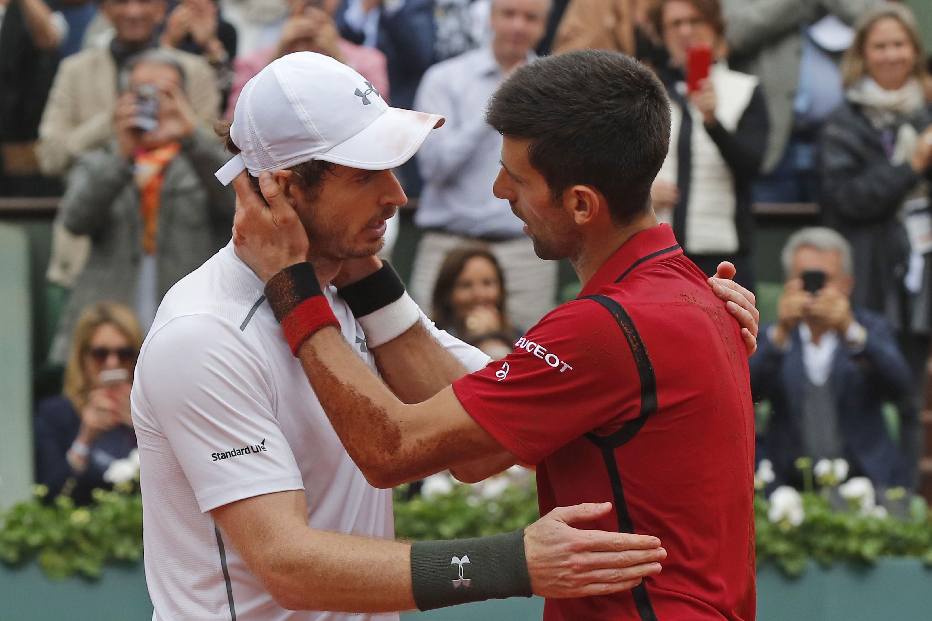 Andy Murray congratulates Novak Djokovic on achieving the career grand slam.