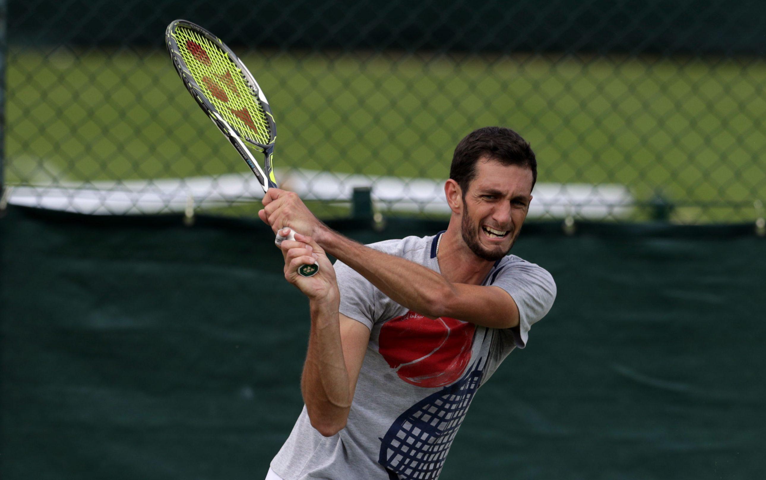 James Ward practising ahead of Wimbledon.