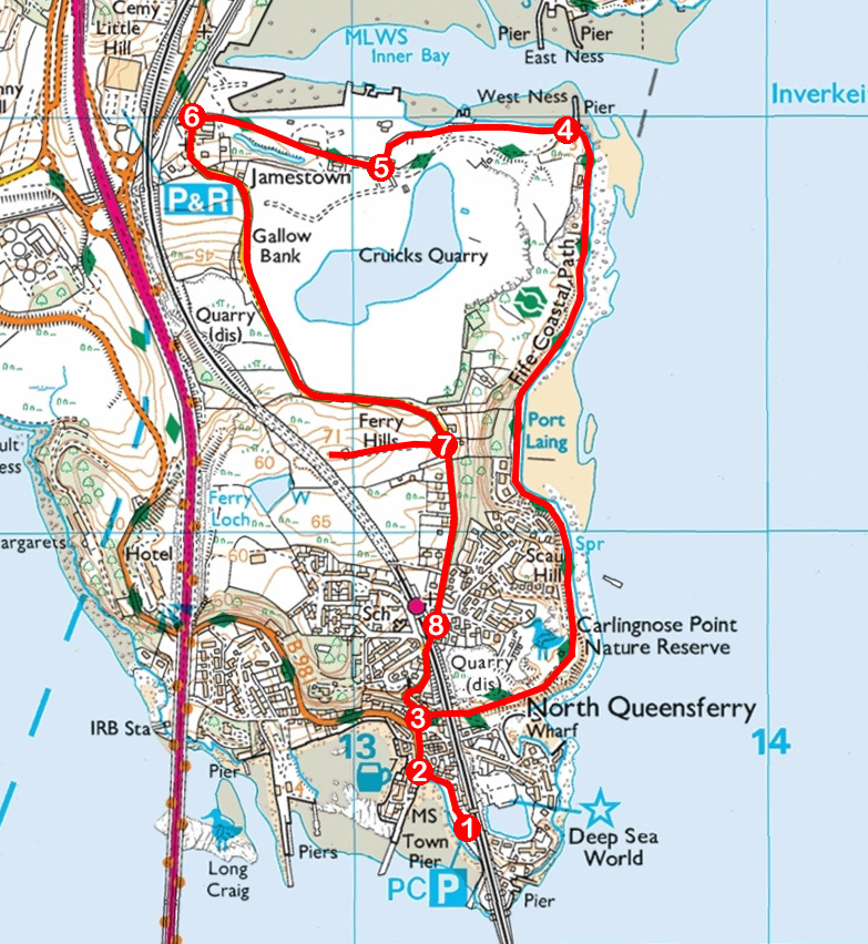 Take a Hike 118 - June 25, 2016 - North Queensferry to Inverkeithing, Fife OS map extract