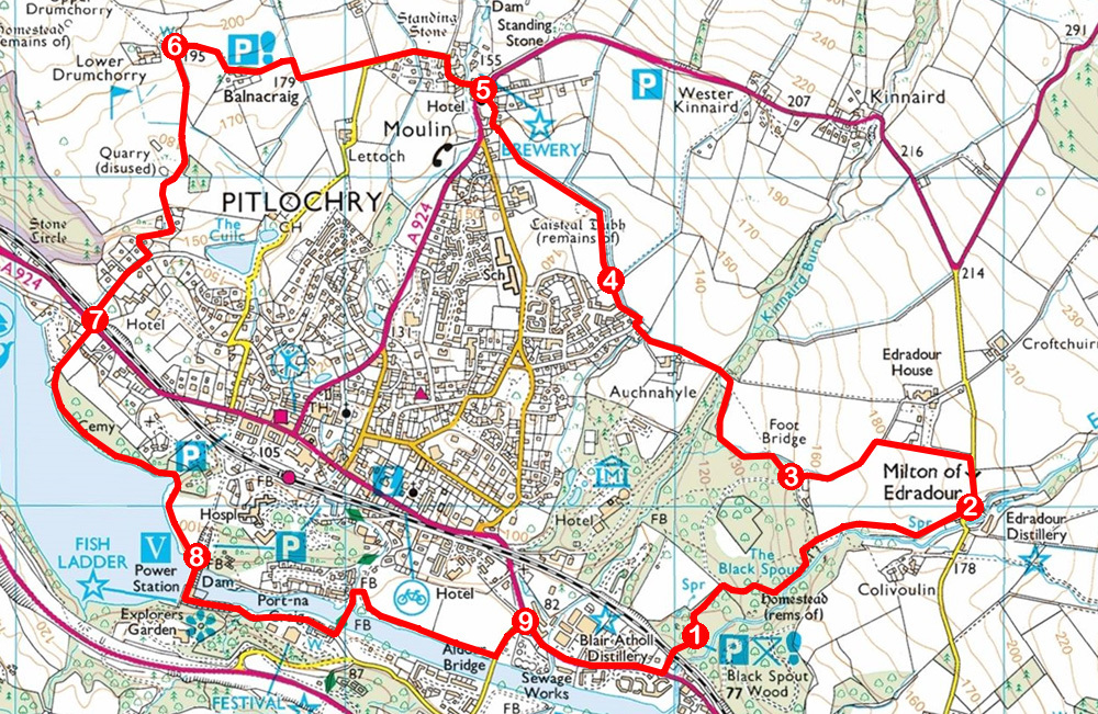 Take a Hike 119 - July 2, 2016 - Edradour and Moulin, Pitlochry, Perth and Kinross OS map extract