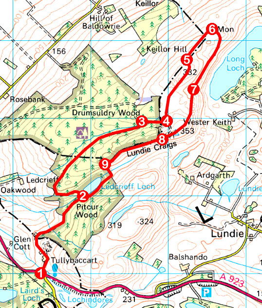 Take a Hike 120 - July 9, 2016 - Lundie Craigs, Lundie, Angus OS map extract
