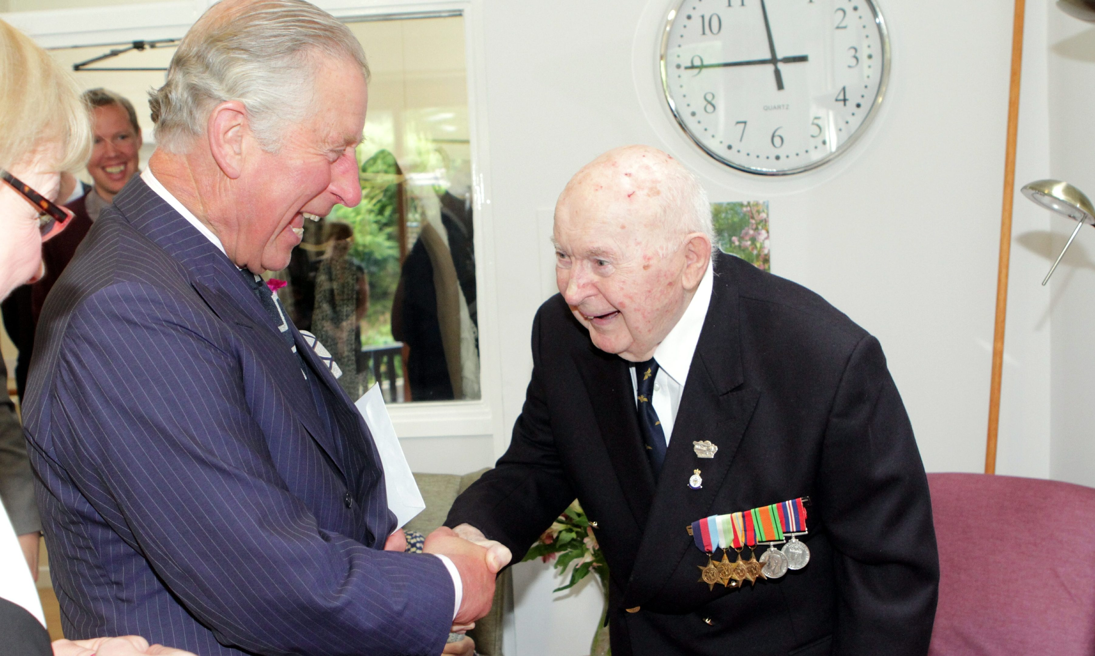 Princes Charles was greeted by Perth pilot John Moffat on his visit to Viewlands House.