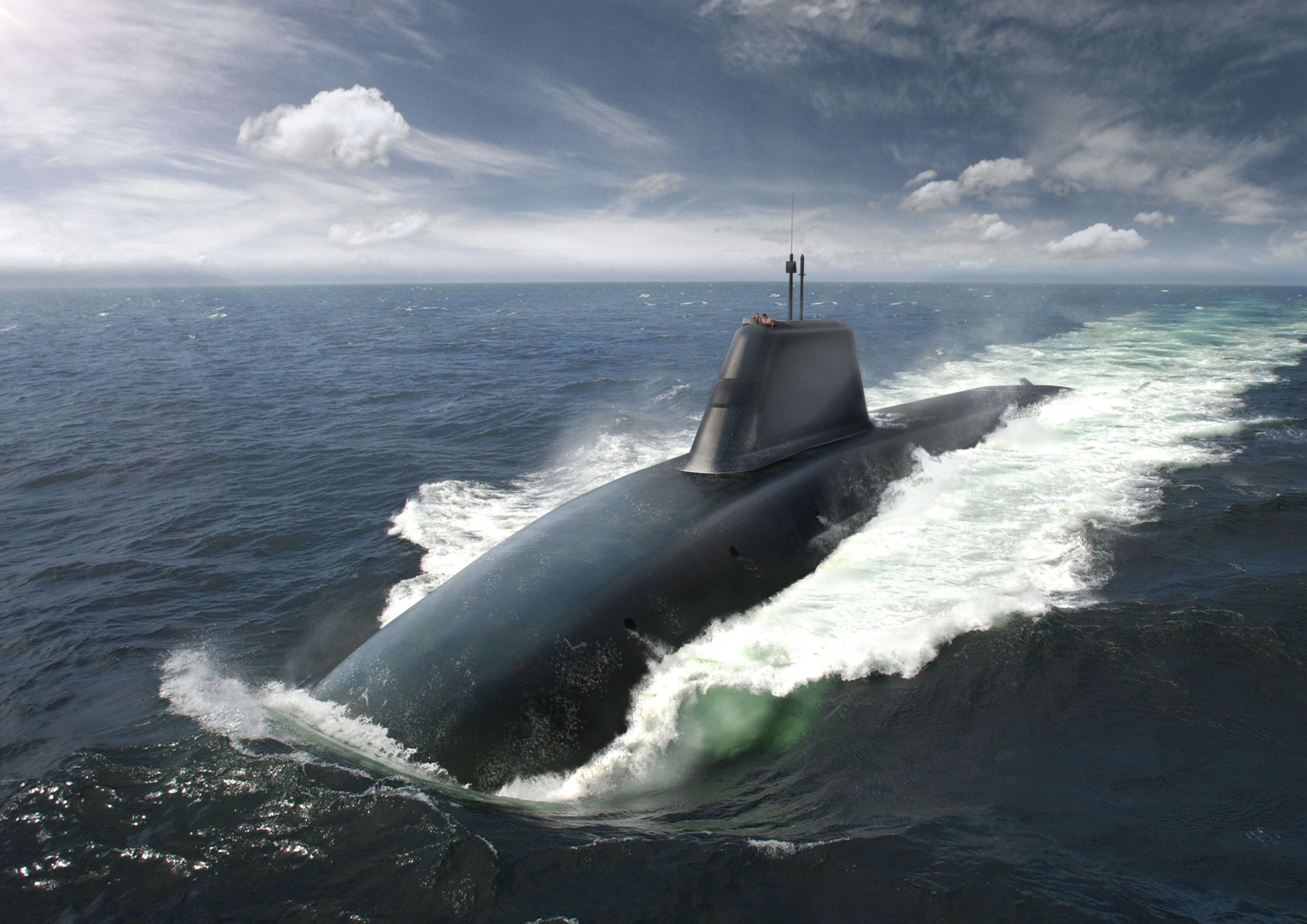 An artist's impression of one of the Dreadnought submarines due to replace the Vanguard class, which carries Trident missiles.