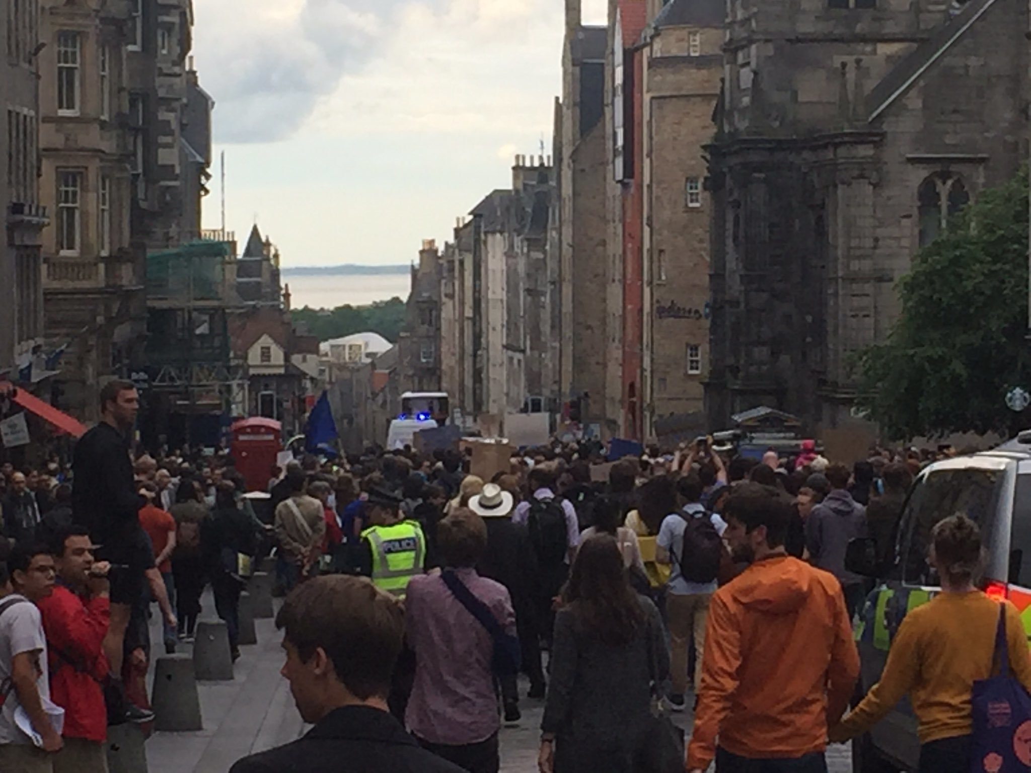 Protesters took to the streets in Edinburgh.