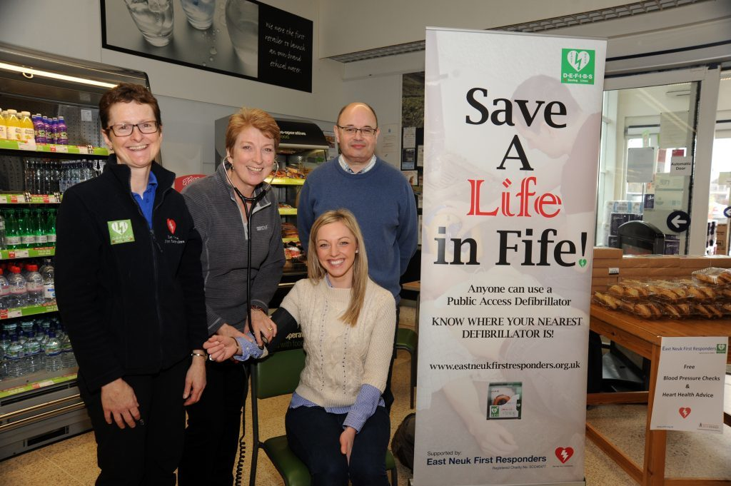 East Neuk First Responders were in the foyer at the Co-op Anstruther last February promoting Health Awareness, carrying out free blood pressure and heart risk checks along with Public Access Defibrillator awareness. From left - Gillian Duncan, Moira Mukherjee, Lyndsey Melville and Dr David Hall.