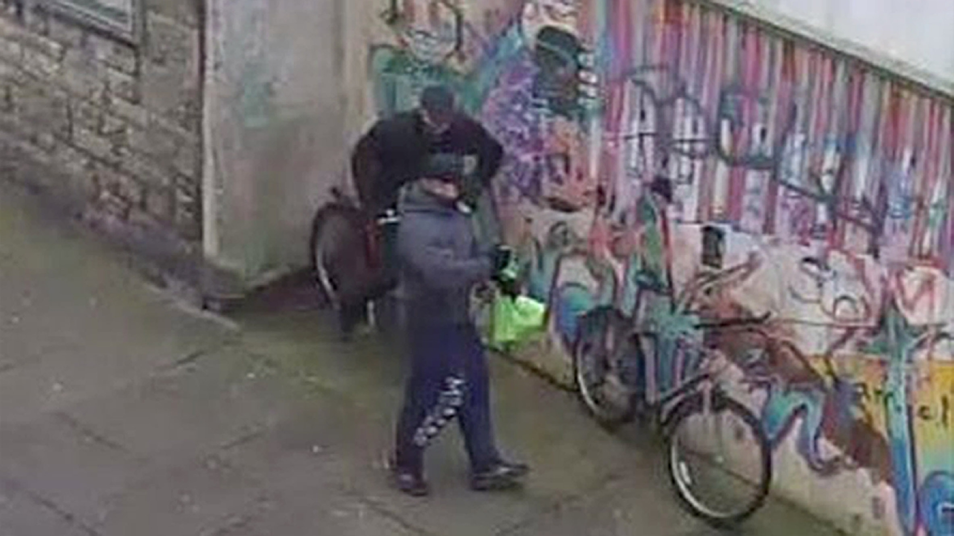 The two thieves made off on bikes after the raid.