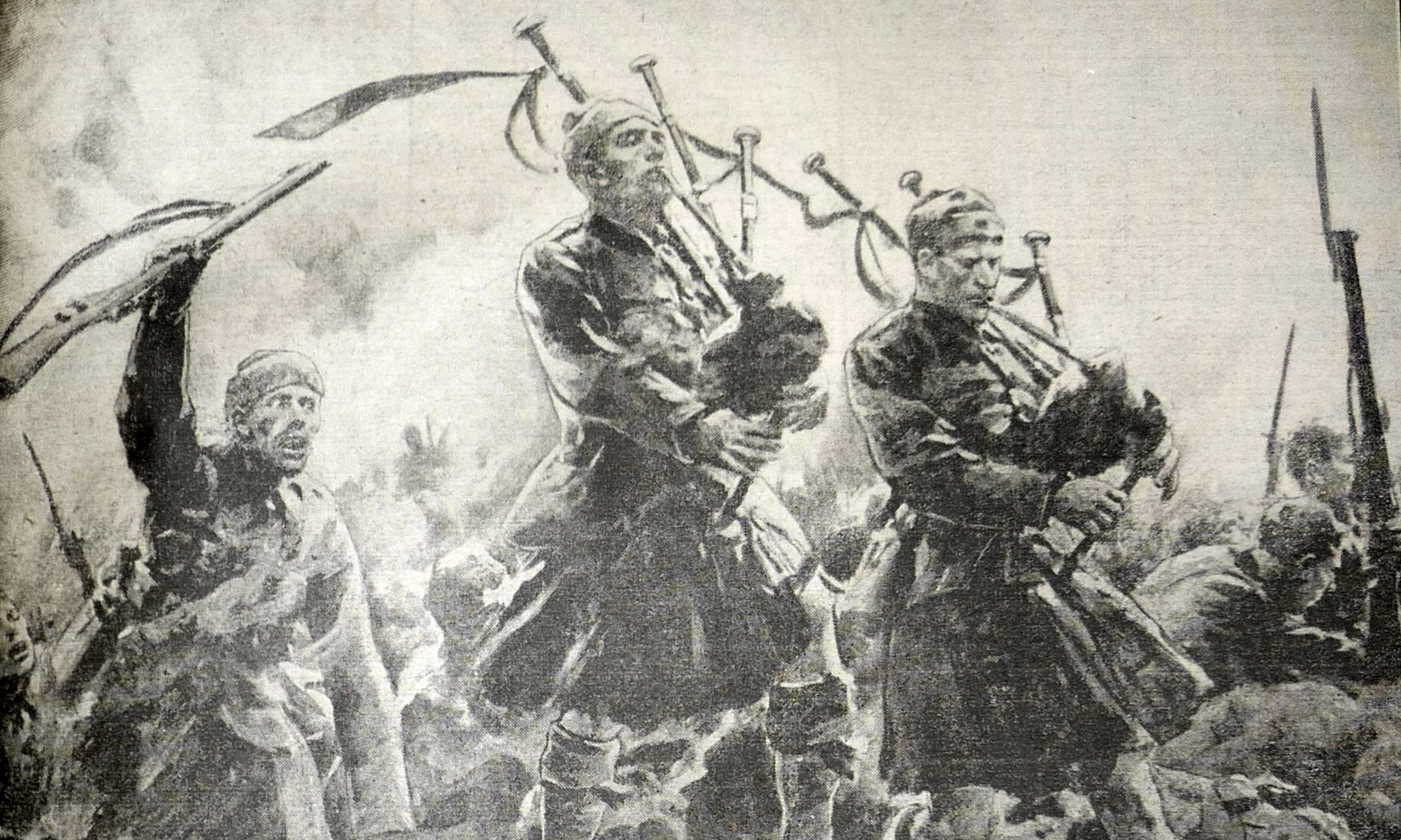 A newspaper illustration showing pipers marching at the bloody battle.