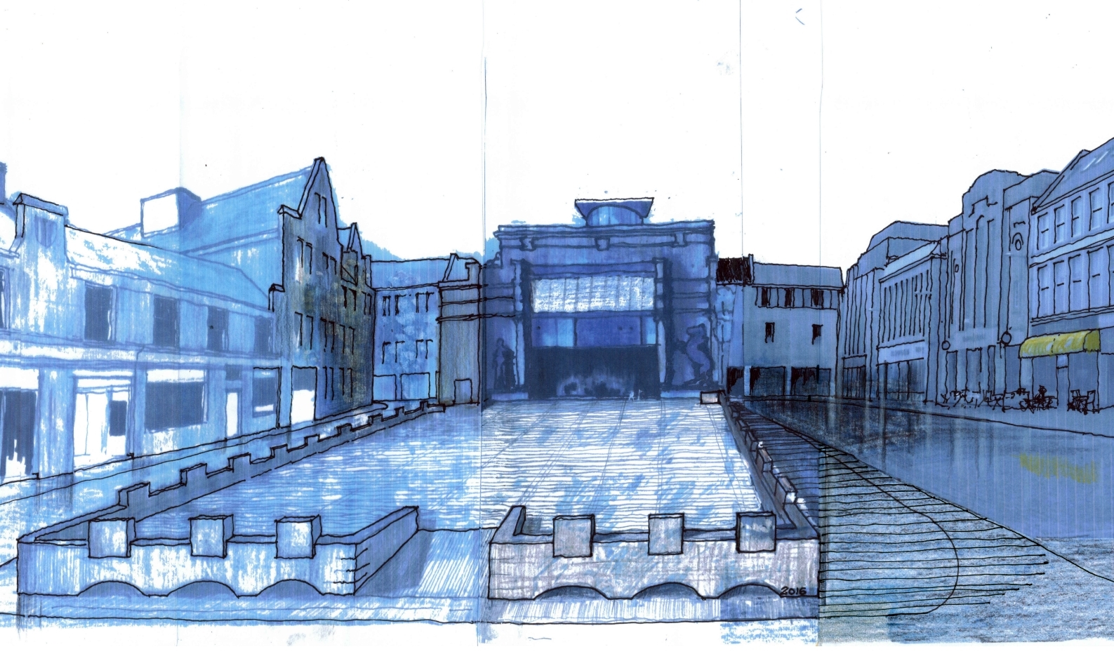 A concept of the plan for a civic square.