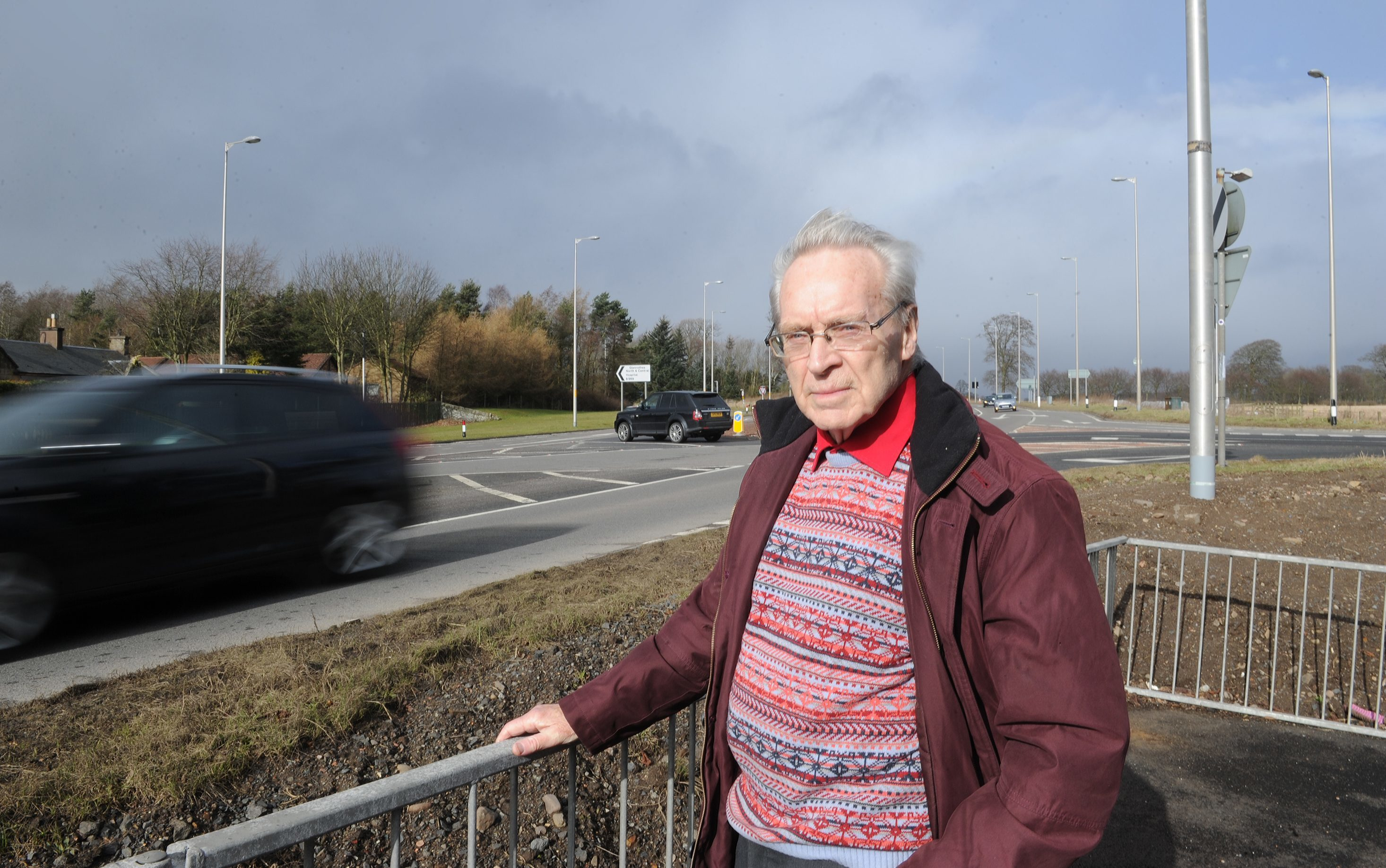 Pictured beside the Balfarg junction on the A92 near Glenrothes is Ron Page (convenor of the Glenrothes Area Furures Group) who is campaigning for safety improvements to the road