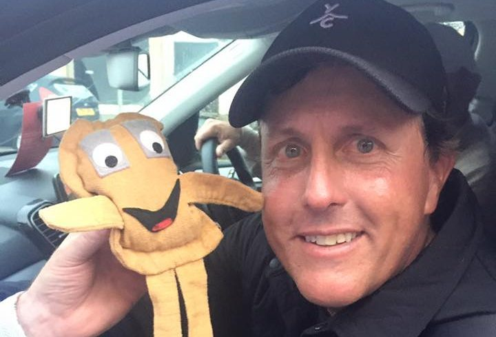 A fun-size Baxter with Phil Mickelson.