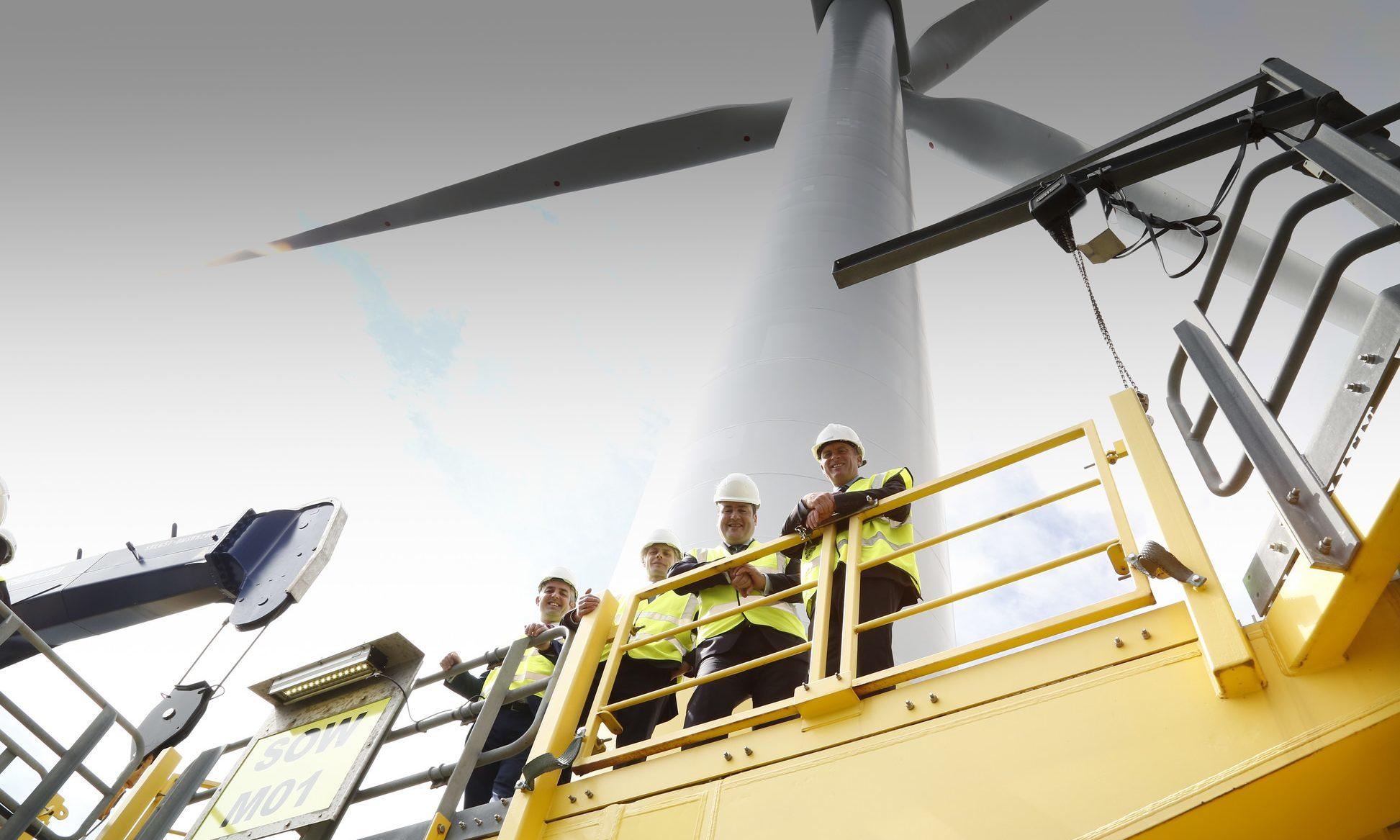 Scottish Energy Minister Paul Wheelhouse visiting the Levenmouth turbine.