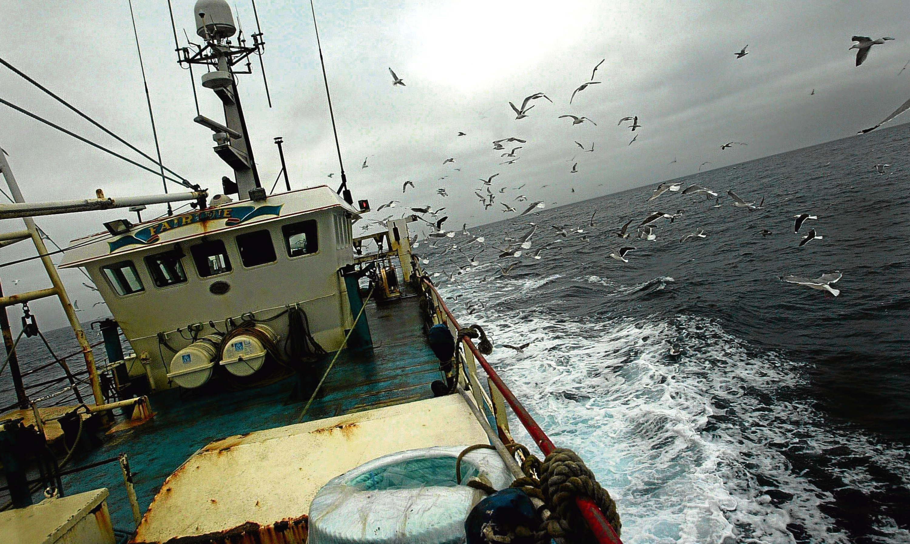 A fishing boat at work in the North Sea.