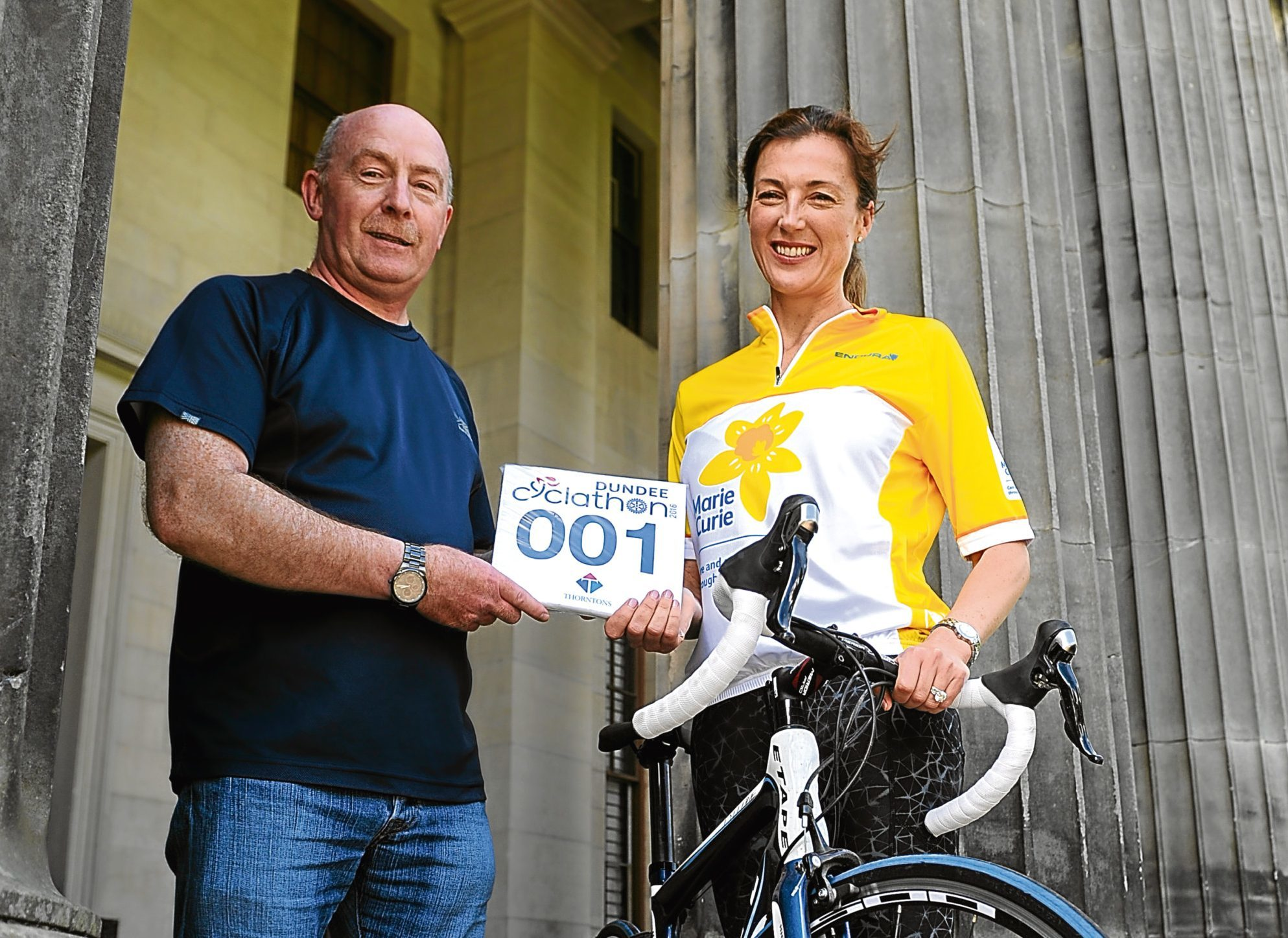 Ian Balgowan (Cyclathon Co-ordinator) and Petra McMillan from Marie Curie at  Camperdown House.