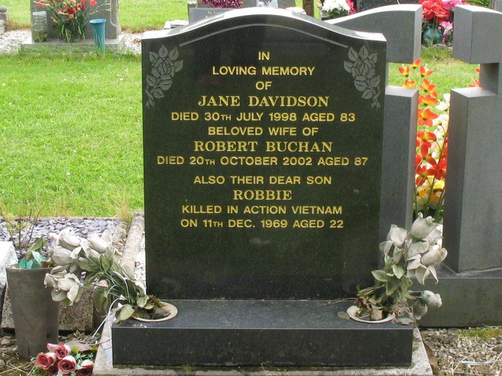 The Buchan family headstone at Birkhill Cemetery.
