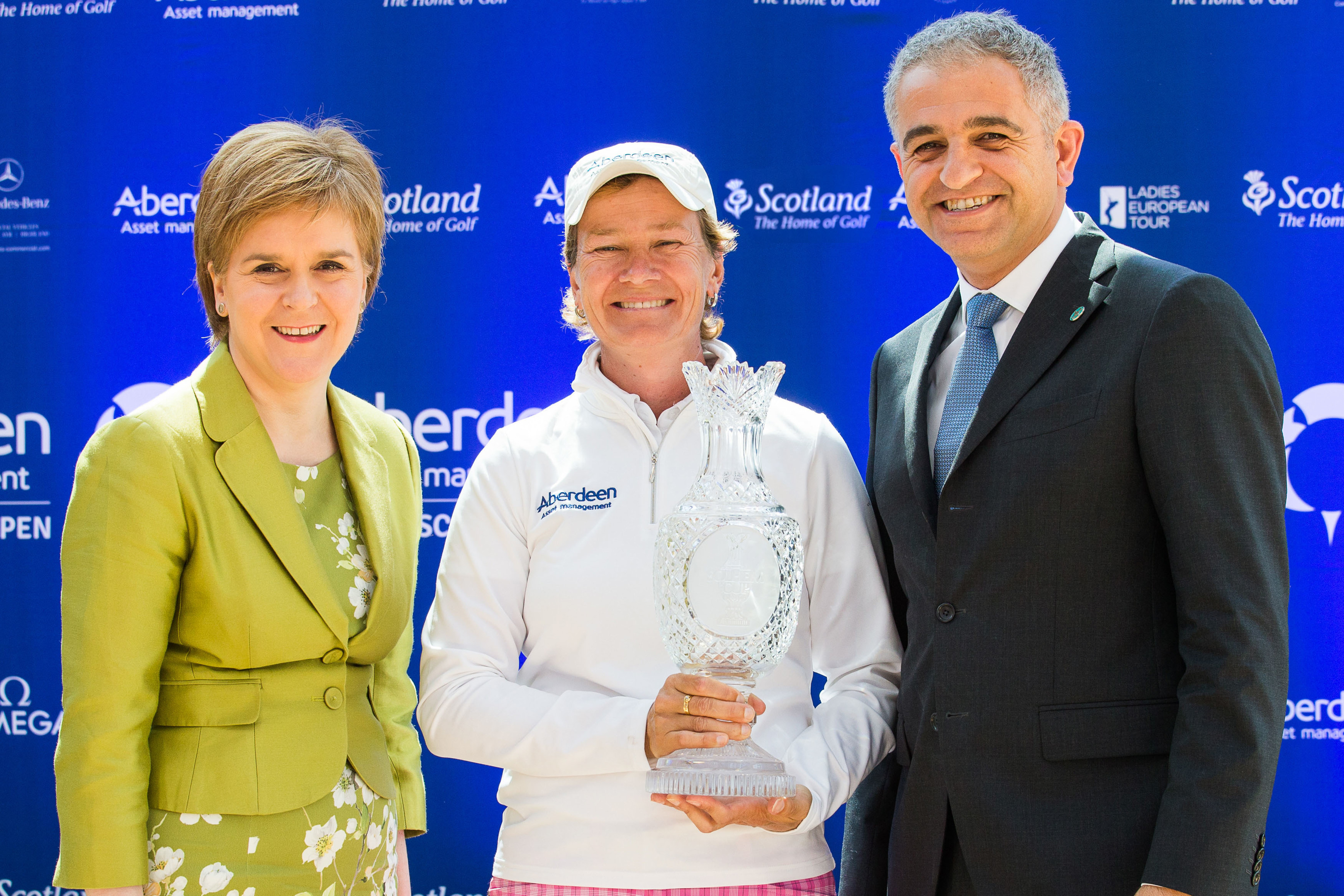 Catriona Matthew at yesterday's vice-captaincy announcement at the Aberdeen Asset Management Ladies Scottish Open, with Ladies European Tour CEO Ivan Khodabakhsh (right) and First Minister Nicola Sturgeon. Pic: Tristan Jones.