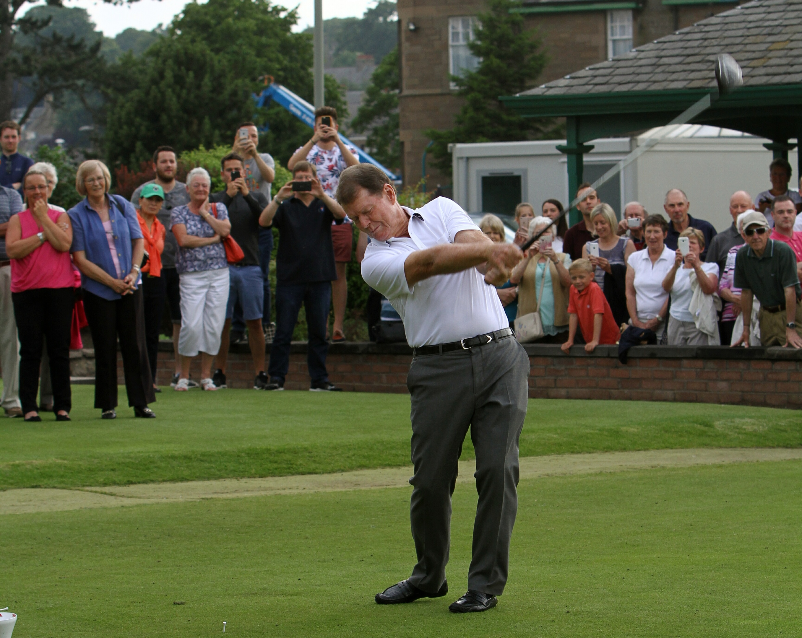 Picture shows Tom Watson recreating his drive off the first tee.