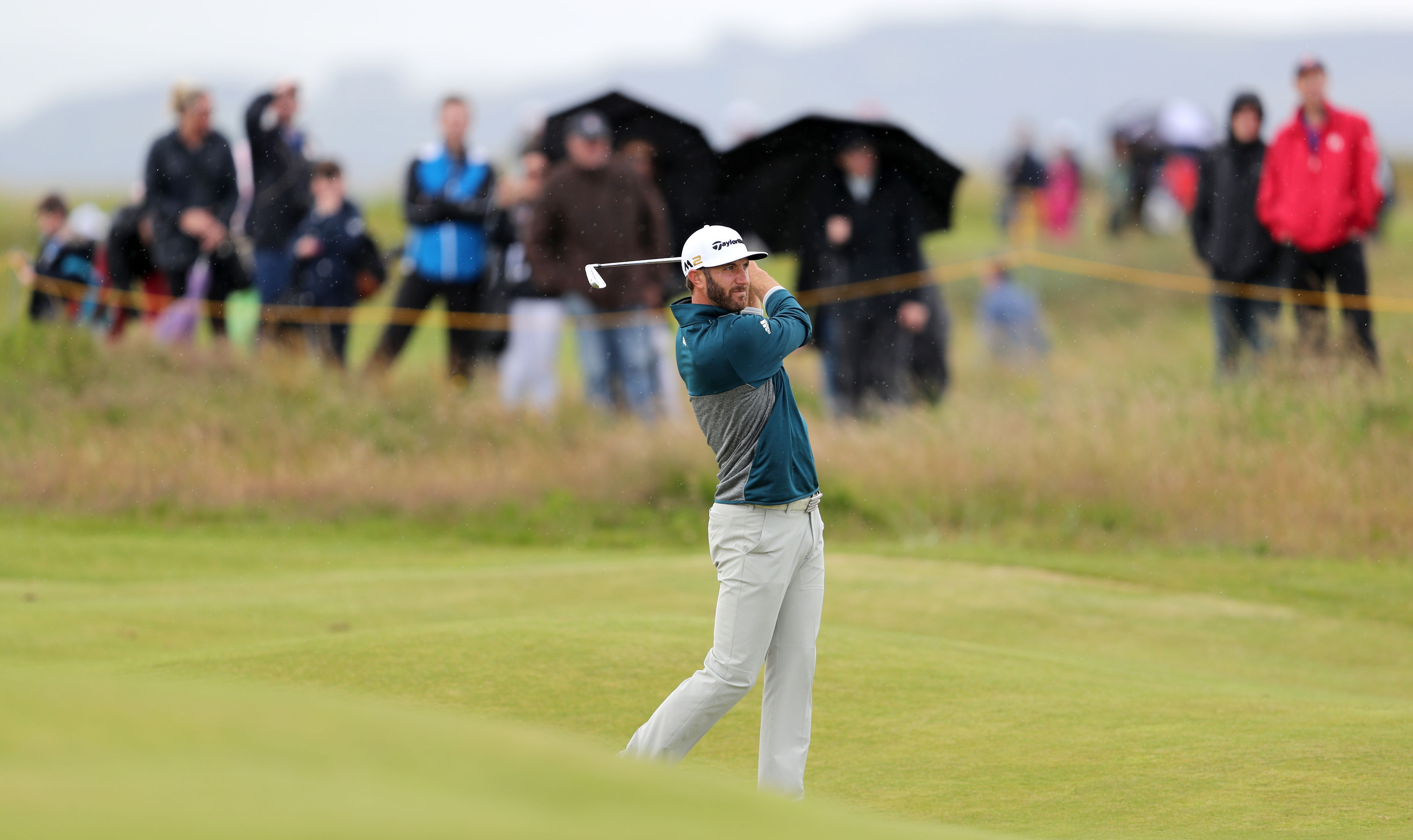 Dustin Johnson in practice for the Open Championship at Troon.