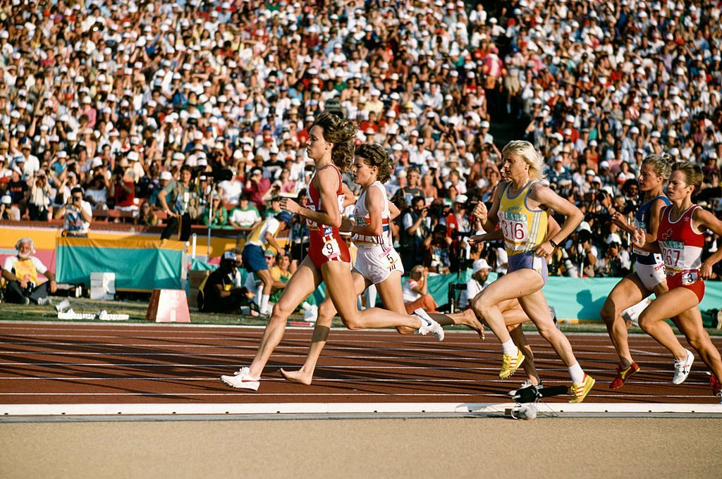 Athletes Mary Decker, Zola Budd and Maricica Puica (316) during the Women's 3000 Metres final at the Olympic Games in Los Angeles 1984.