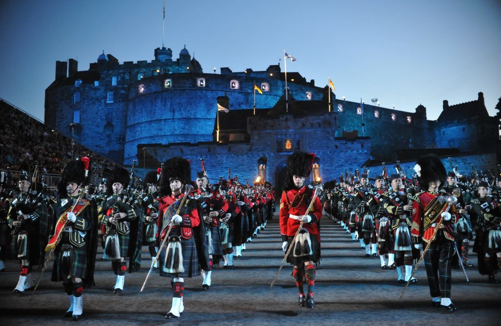 The Massed Pipes and Drums perform at the Edinburgh Military Tattoo Preview Night in 2012