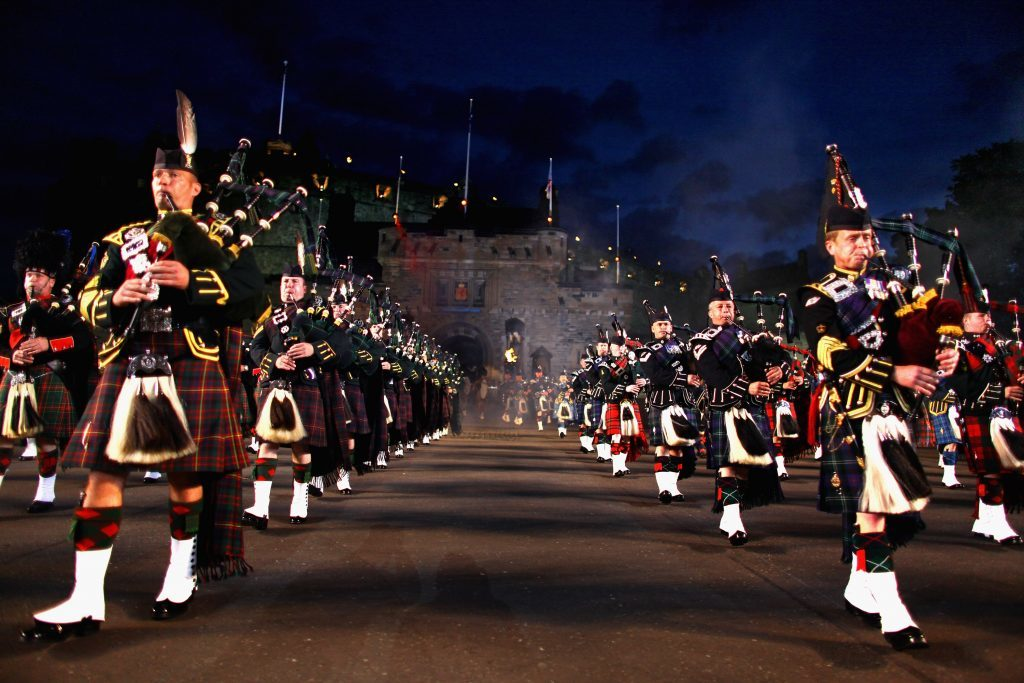 The Massed Pipes and Drums perform during a previous years dress rehearsal of the Military Tattoo on Edinburgh Castle Esplanade