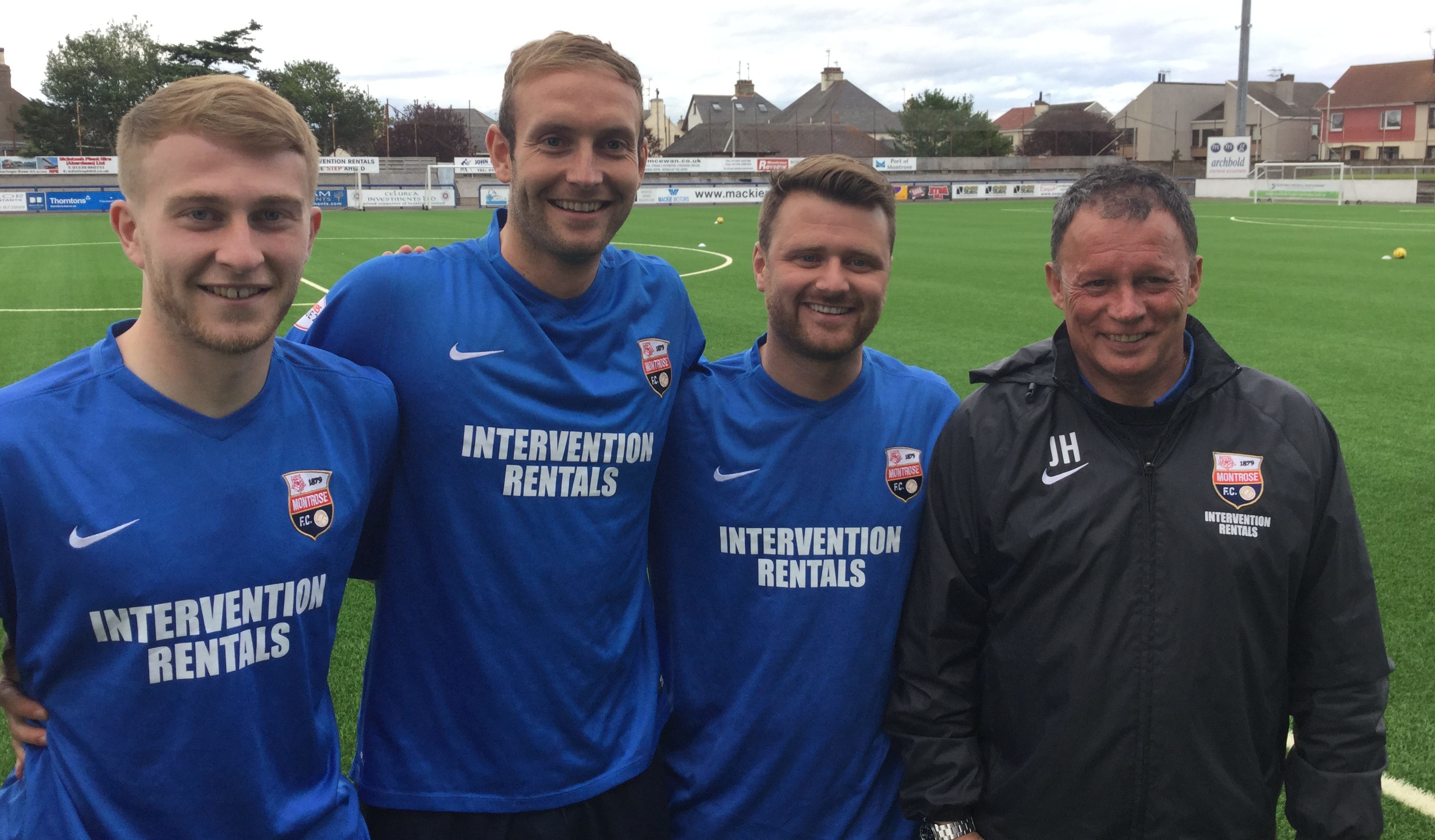 From left, Ross Lennie, Paul Watson and Chris Hegarty with assistant manager John Holt.
