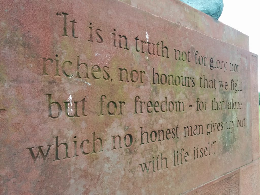 The inscription on the side of the Arbroath monument.