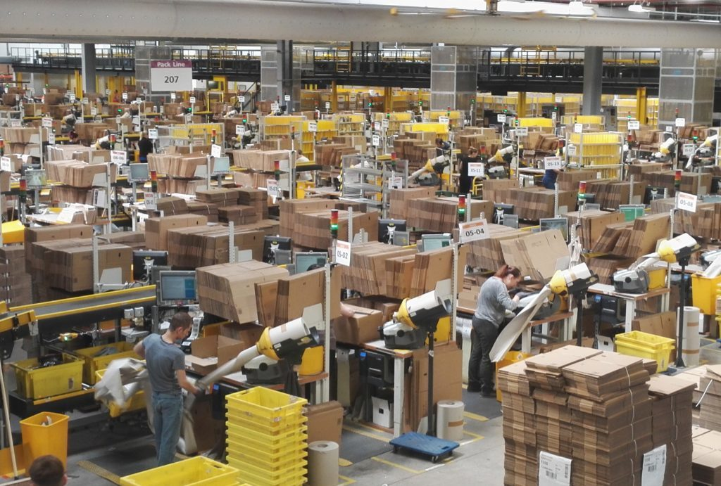 One of the main halls at Amazon's Dunfermline facility