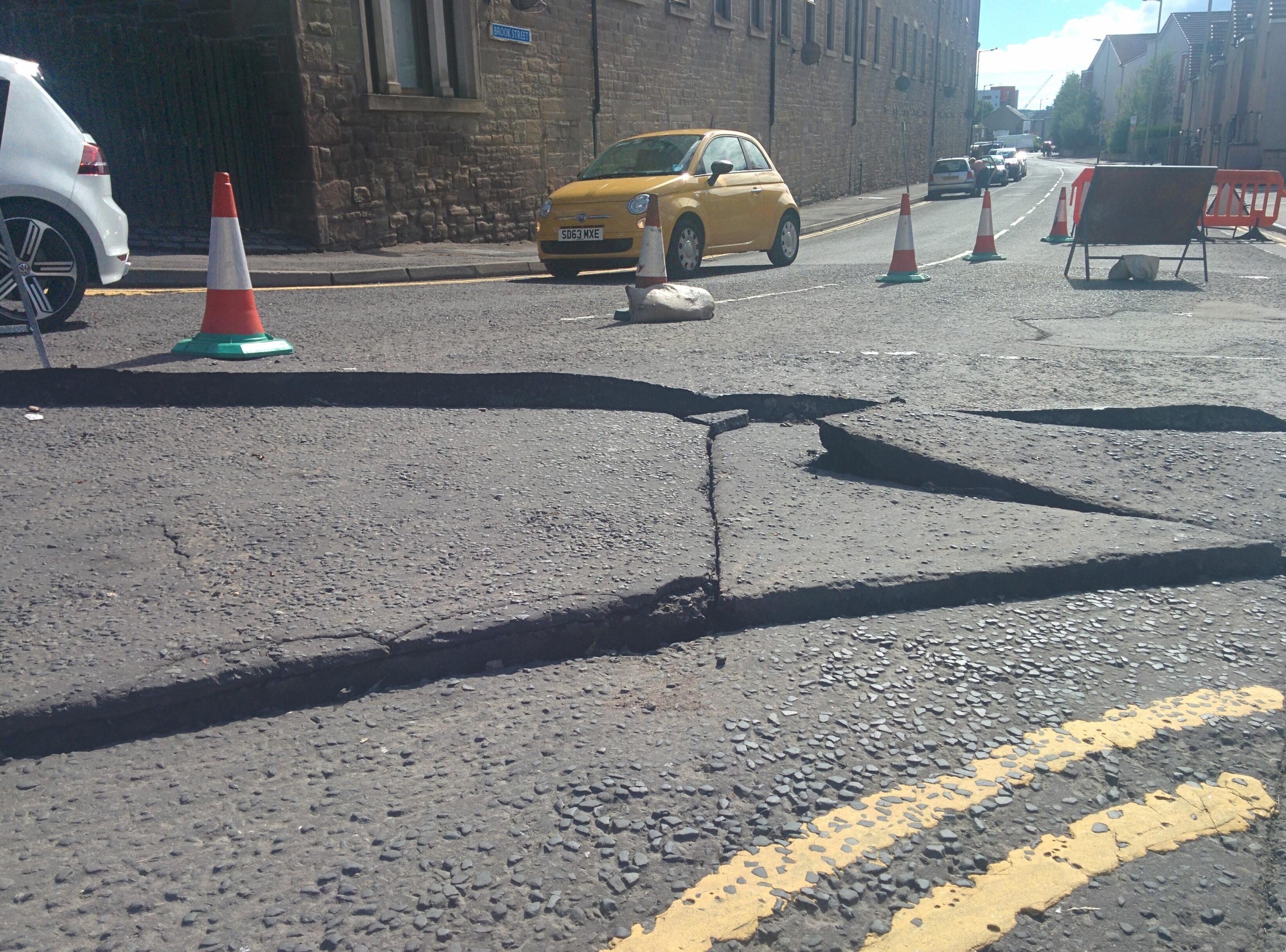 Edward Street  has suffered extensive damage.