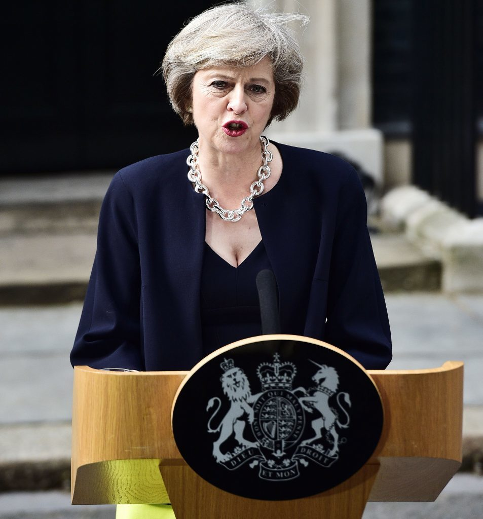New Prime Minister Theresa May makes a speech outside 10 Downing Street,