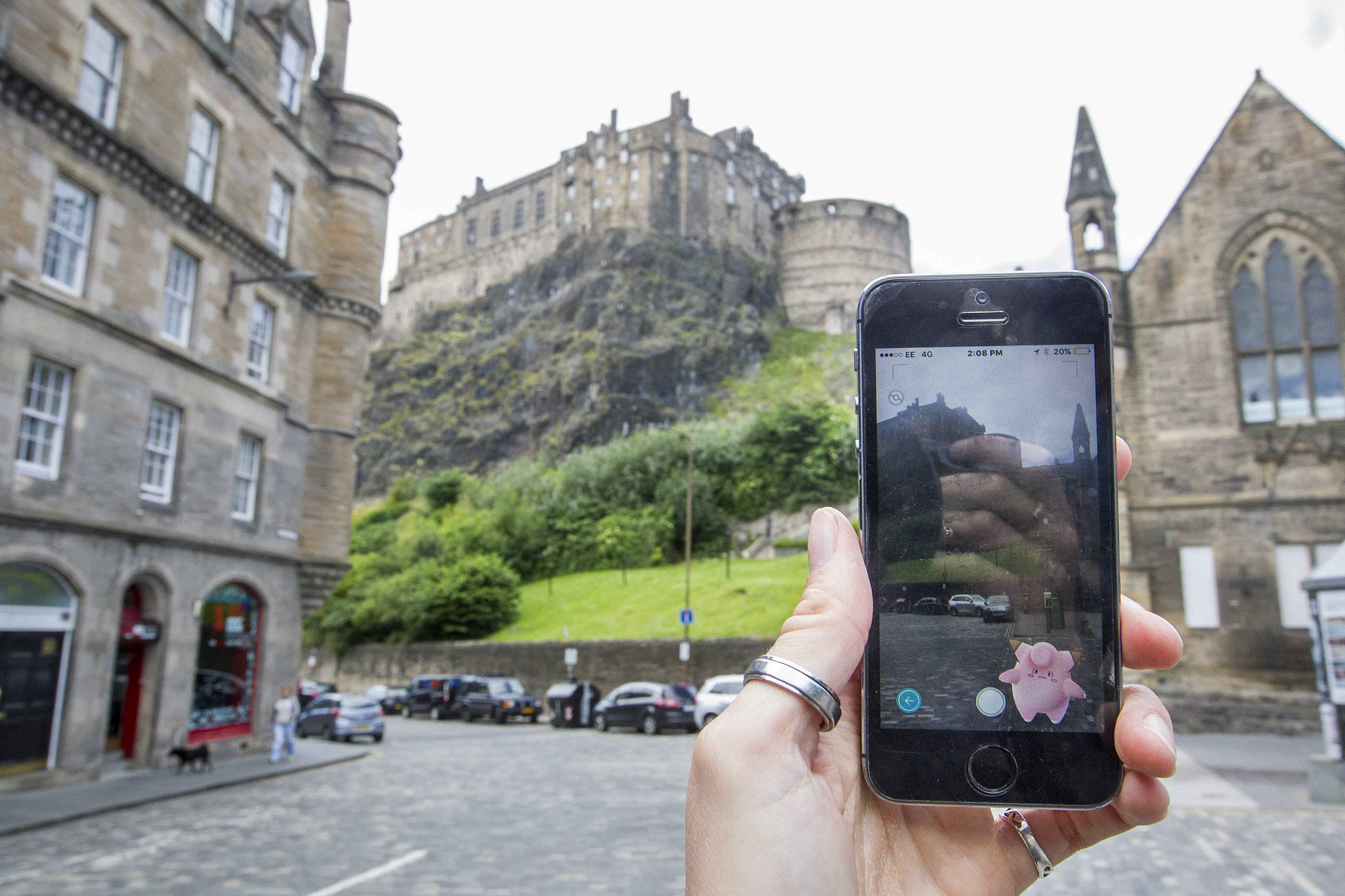 Pokemon Go game in Edinburgh's Grassmarket.