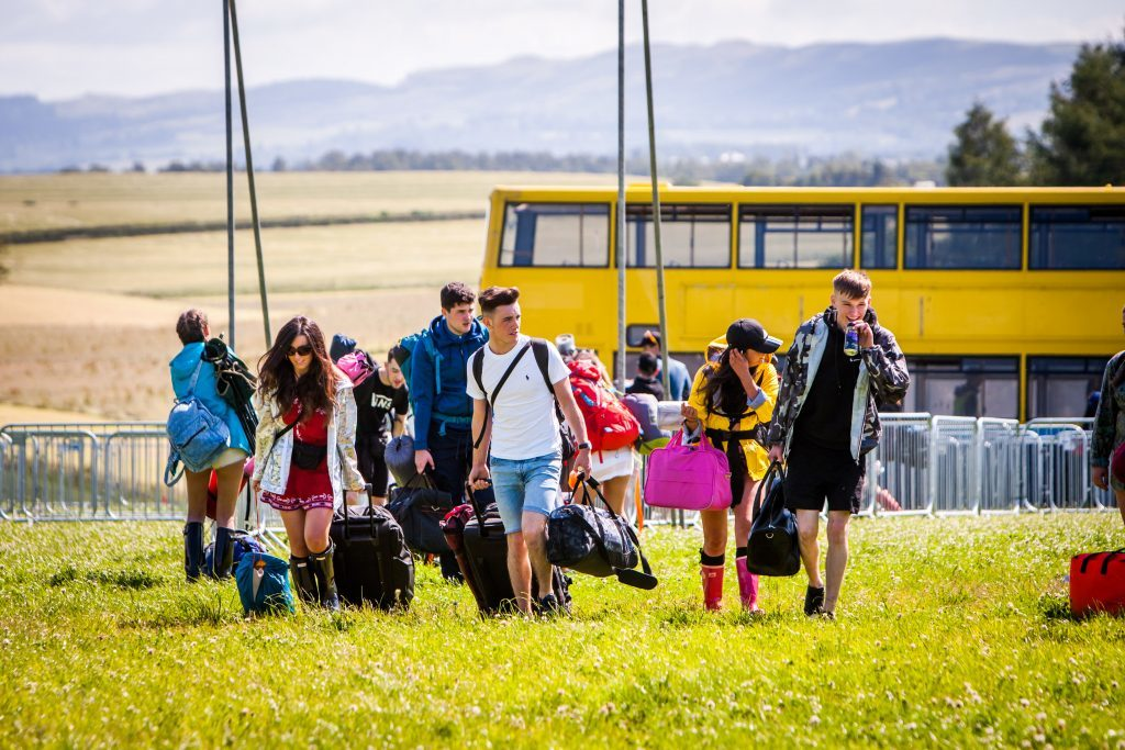 Revellers arriving at T in the Park.