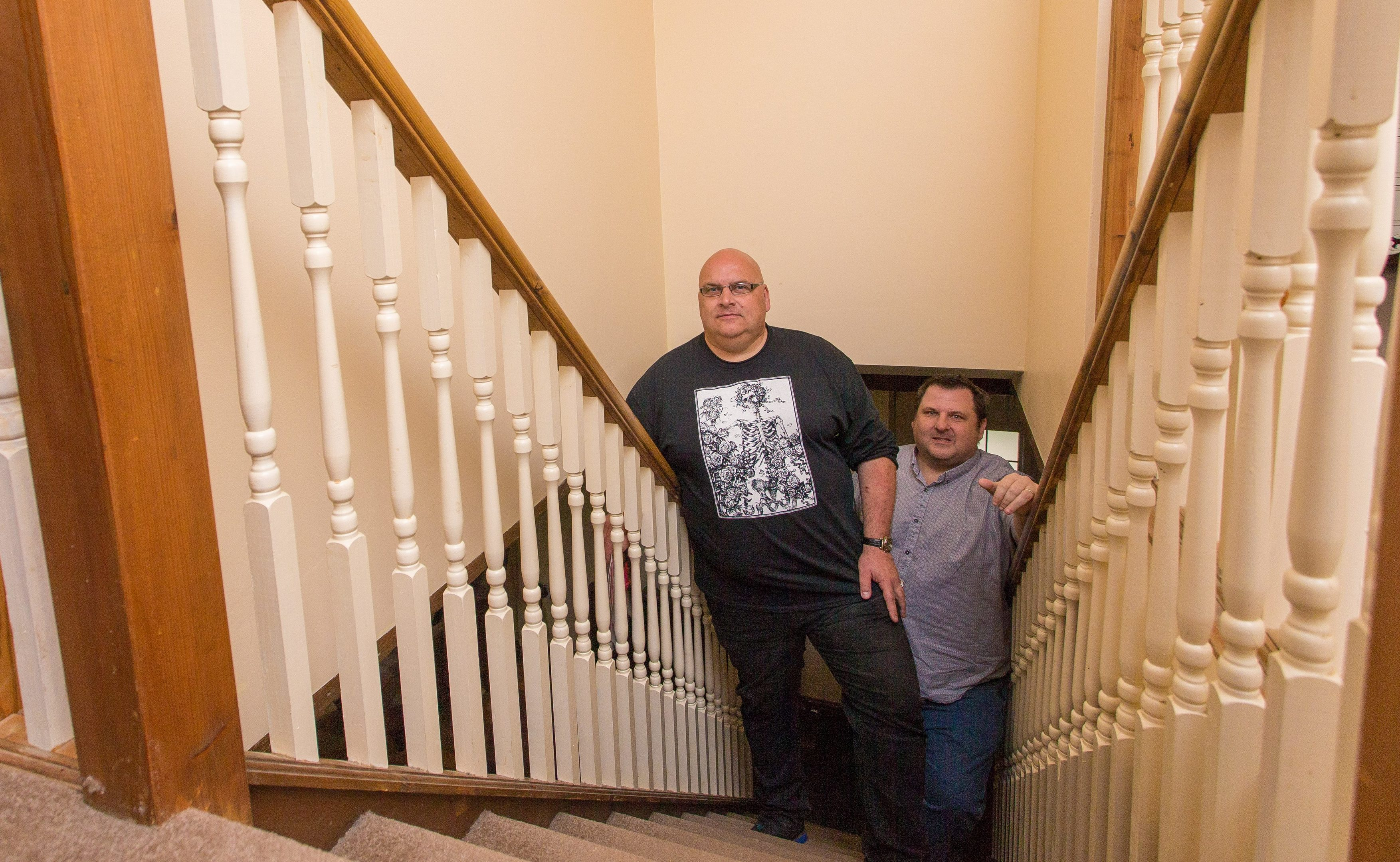 The Ghost Writers Leonard Low and Greg  Stewart  inside Mill House, Kenoway