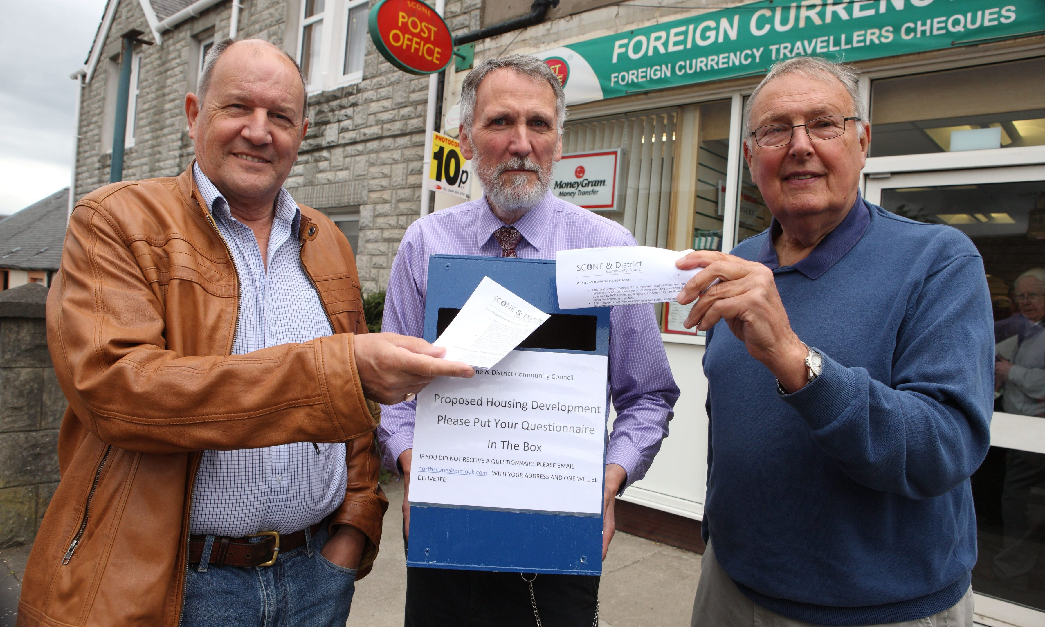 Martin Rhodes,Scone Study Group, Councillor Lewis Simpson and David Dykes, Scone and District Community Council, at Scone Post office