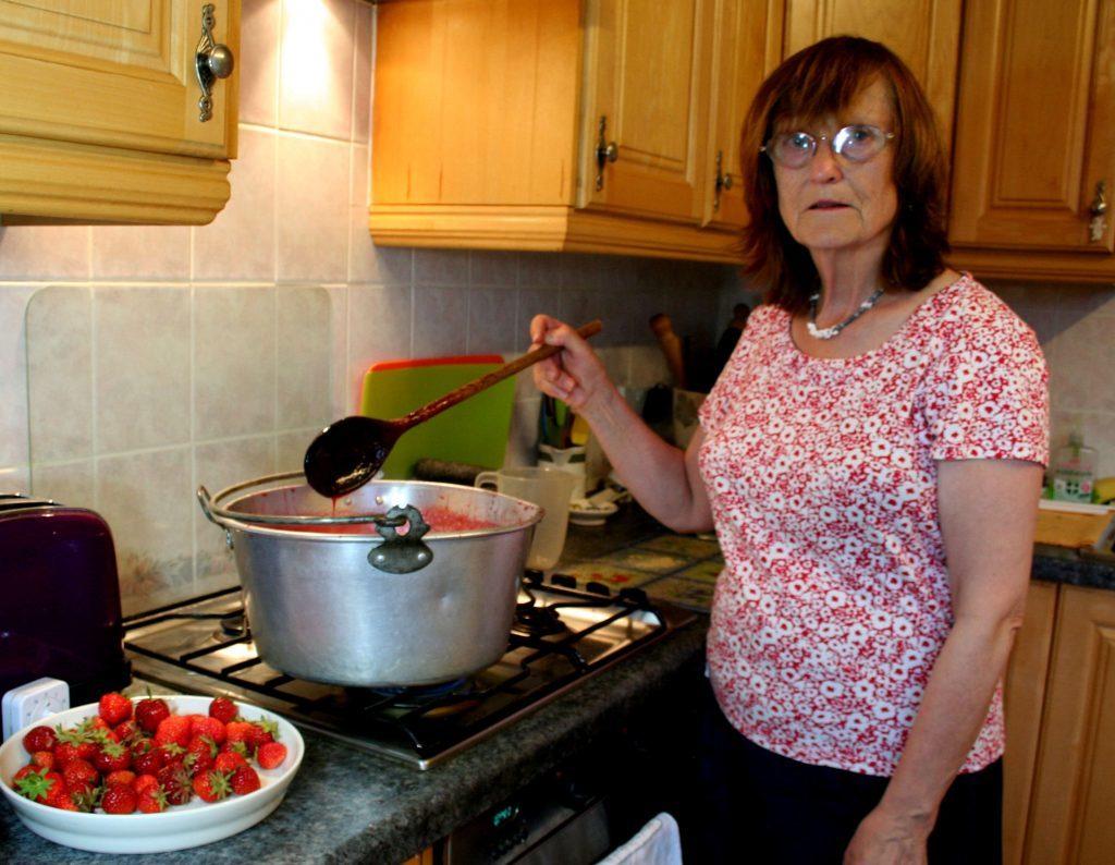 Strawberry jam making