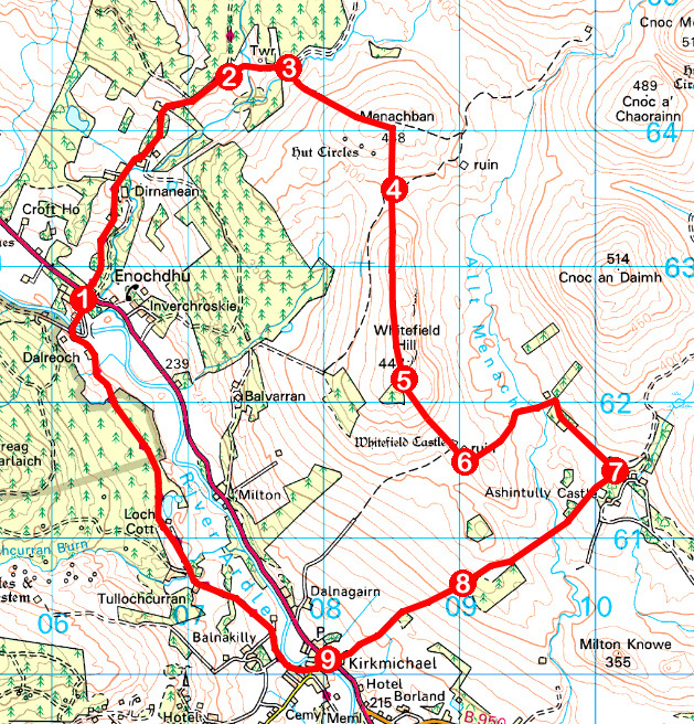 Take a Hike 123 - July 30, 2016 - Whitefield Hill & Castle, Strathardle, Perth & Kinross OS map extract