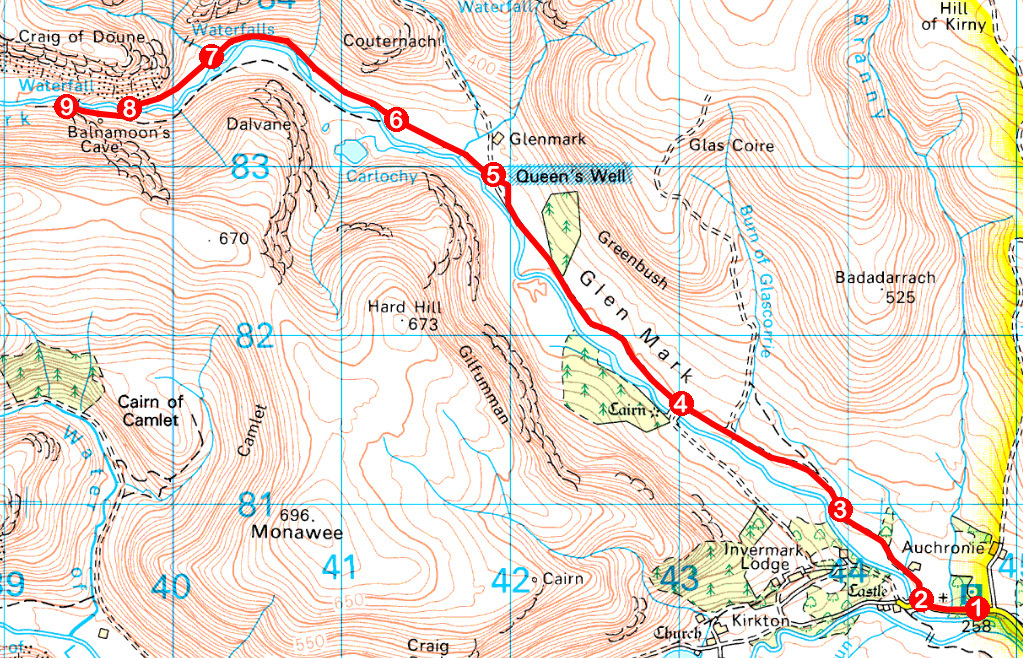 Take a Hike 124 - August 6, 2016 - Queen's Well, Glen Mark, Angus OS map extract