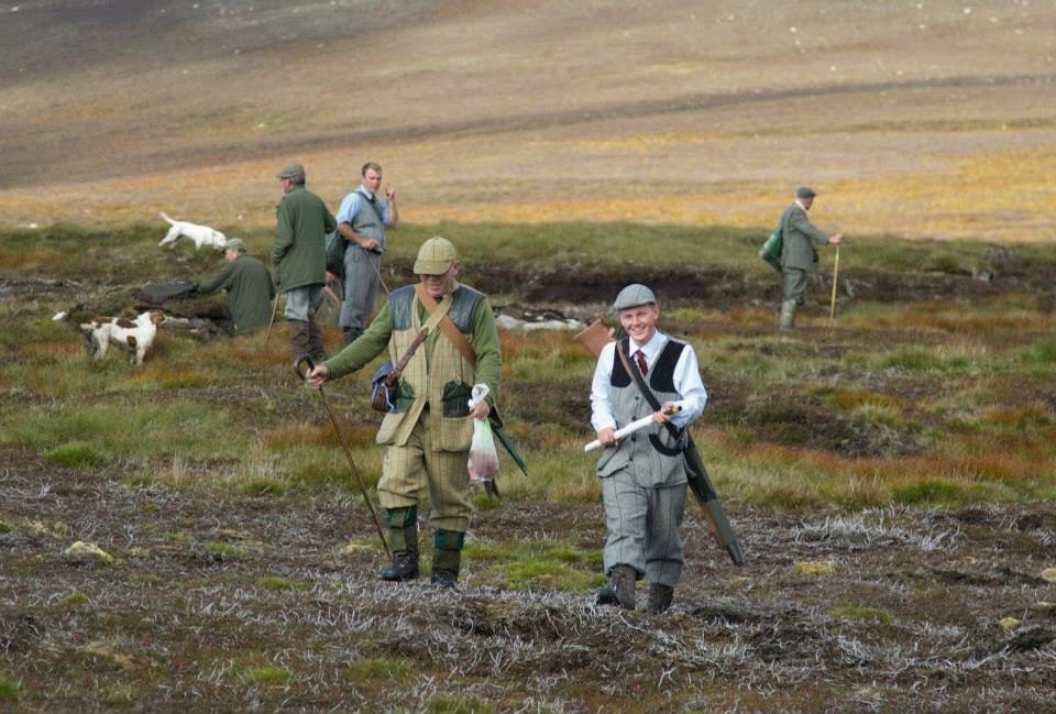 Callum Low, pictured second on the right,on a shoot day at Invermark Estate.