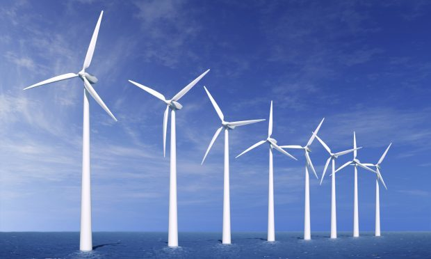 Wind farm offshore stock