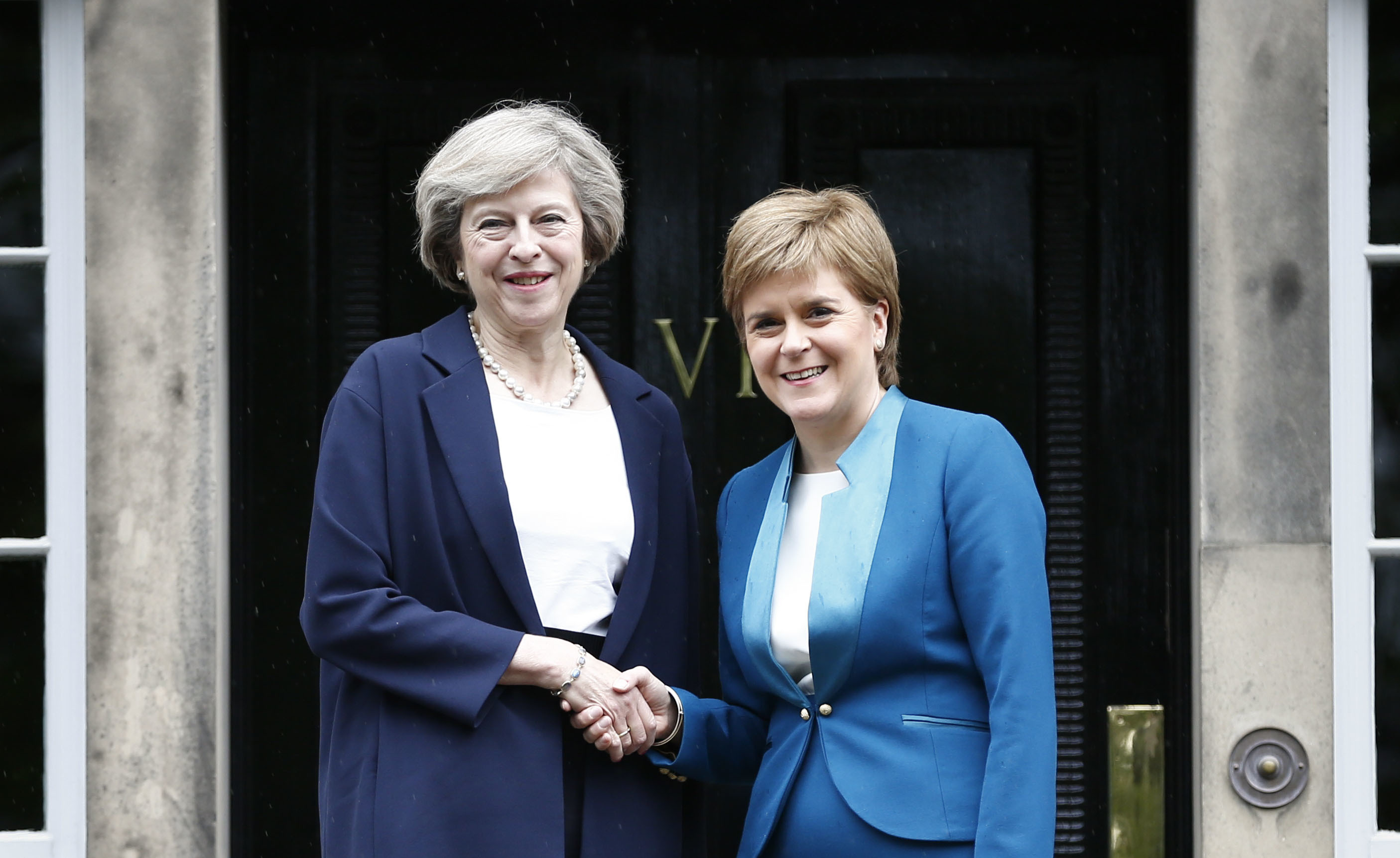 Prime Minister Theresa May and First Minister Nicola Sturgeon on the steps of Bute House.