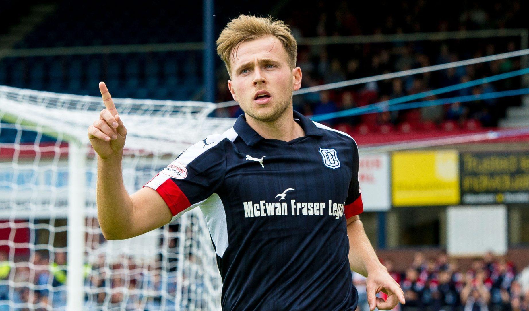 Greg Stewart celebrates one of his many Dundee goals.