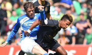 Murray Davidson challenges Scott Sinclair.