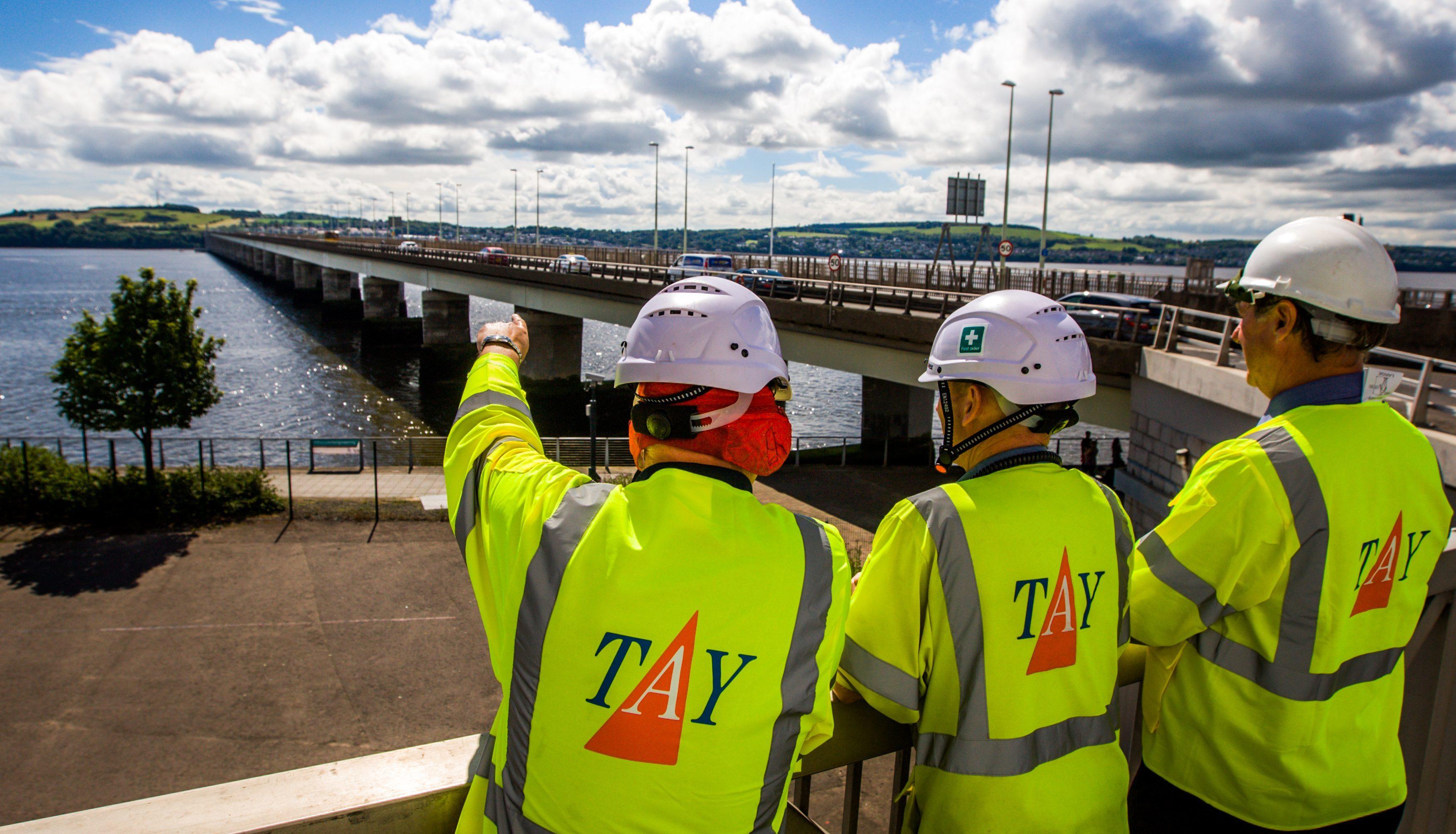 Crews working on the Tay Road Bridge