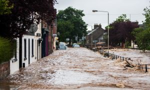 Alyth Square during the flood