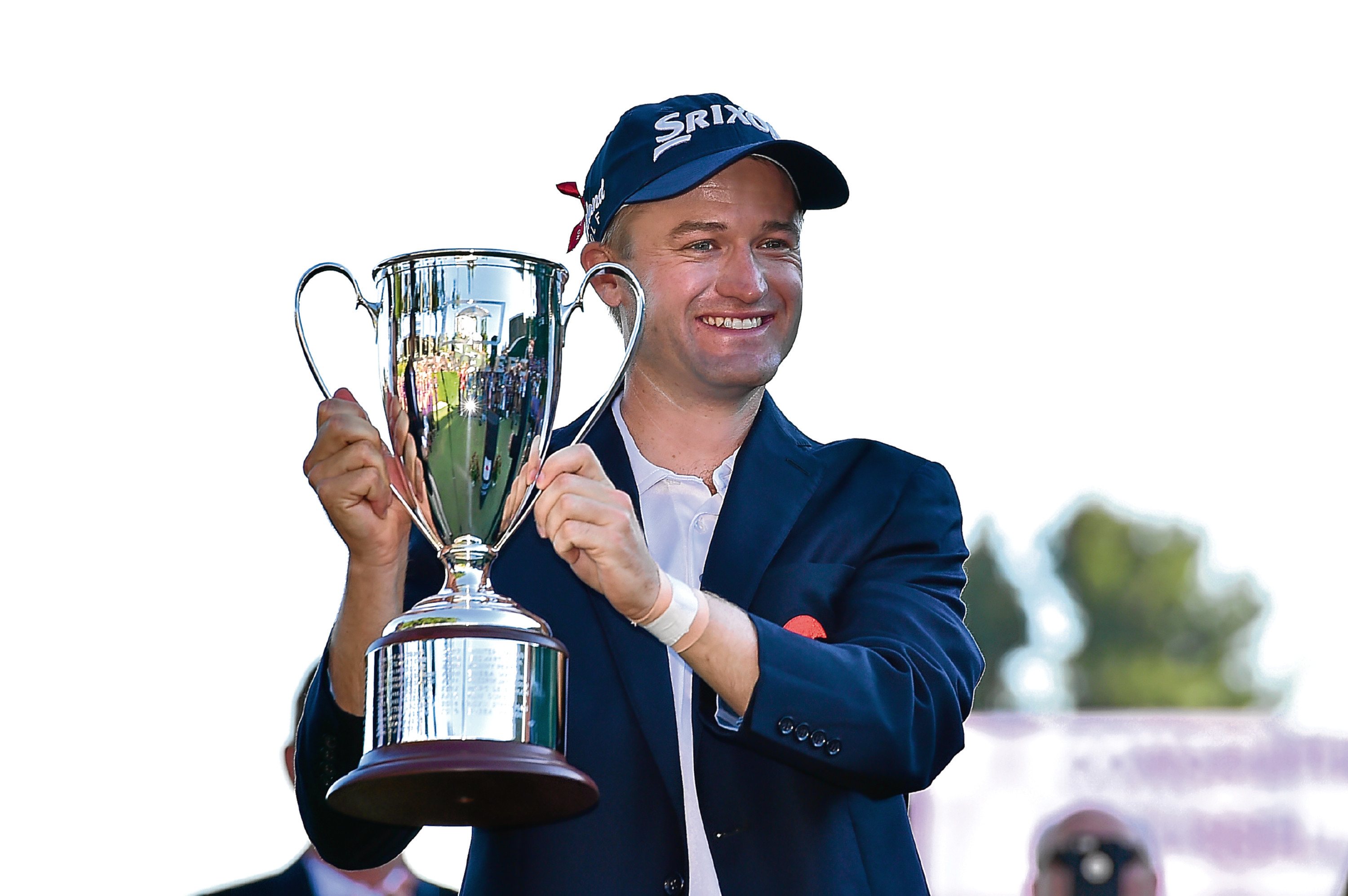 Russell Knox with the Travellers Championship trophy. The 30-year-old Scot now has a compelling argument to be a Ryder Cup wildcard.