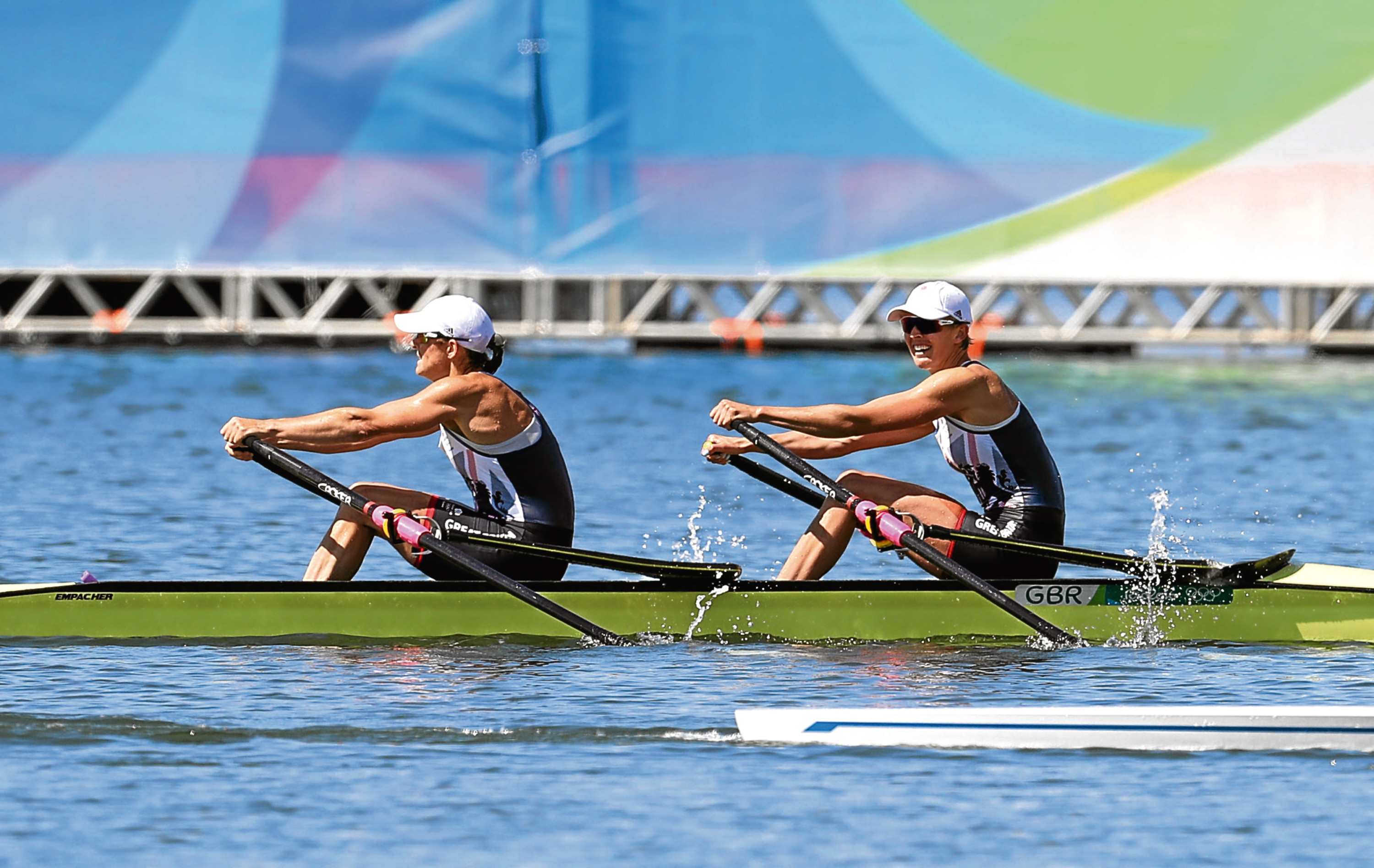 Great Britain's Katherine Grainger and Victoria Thornley finish in silver following the women's doubles sculls final.
