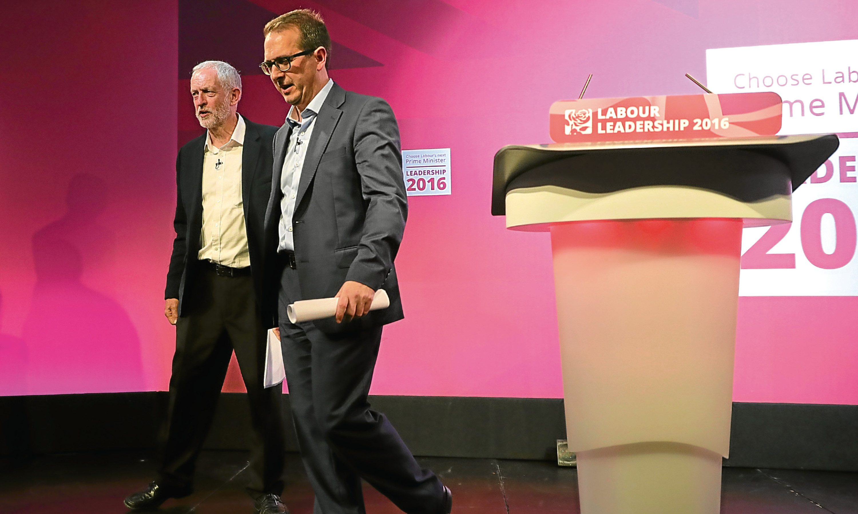Jeremy Corbyn and Owen Smith during a hustings event.