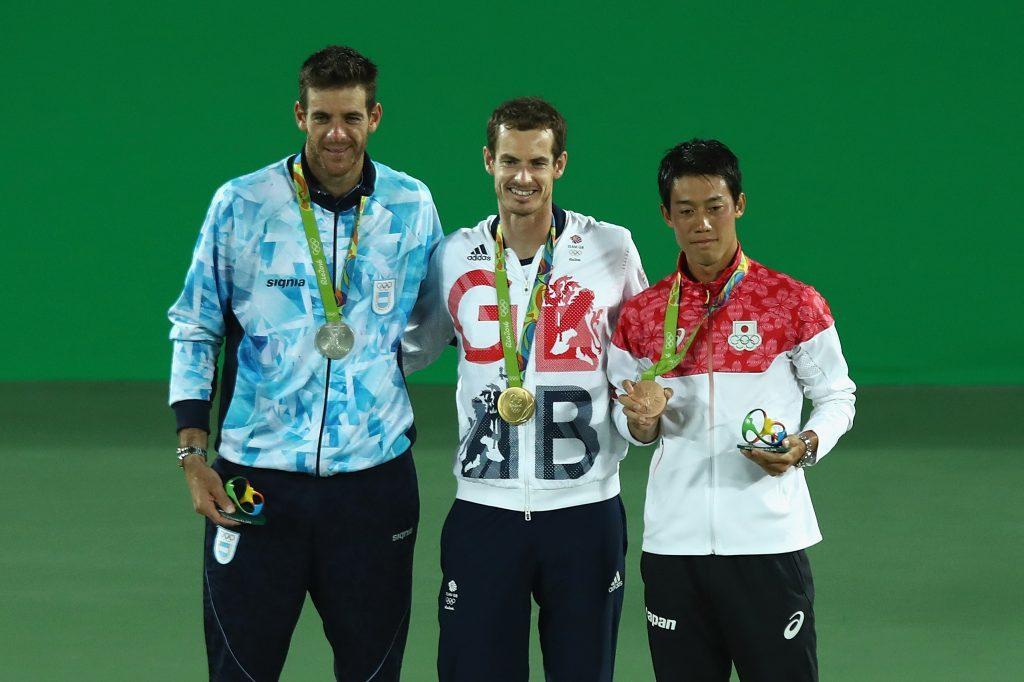 Silver medalist Juan Martin Del Potro of Argentina, gold medalist Andy Murray of Great Britain and bronze medalist Kei Nishikori of Japan.