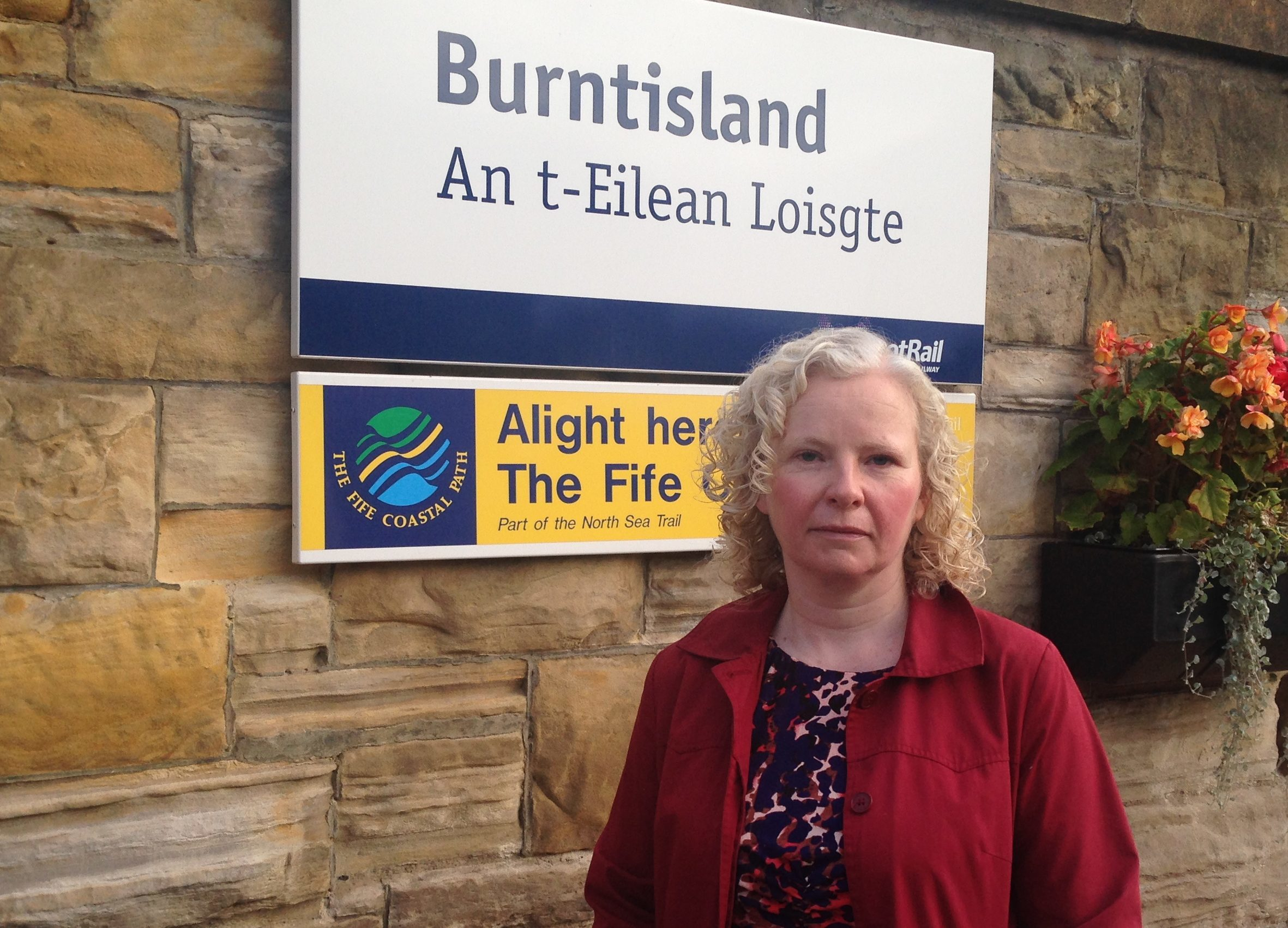 Claire Baker MSP at Burntisland train station.