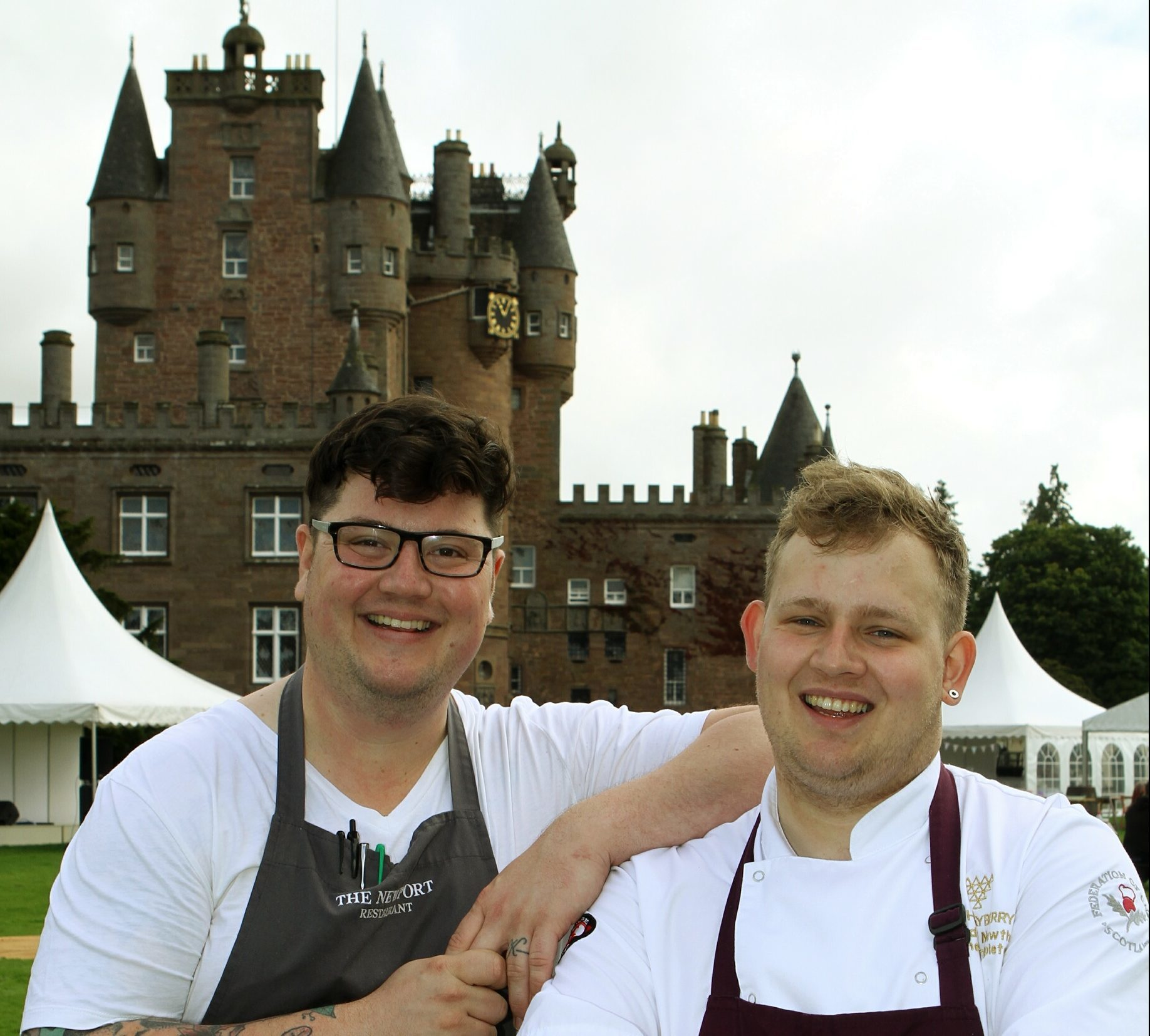 Chefs Jamie Scott, left, from The Newport, and Adam Newth from The Tayberry at the Glamis Castle event